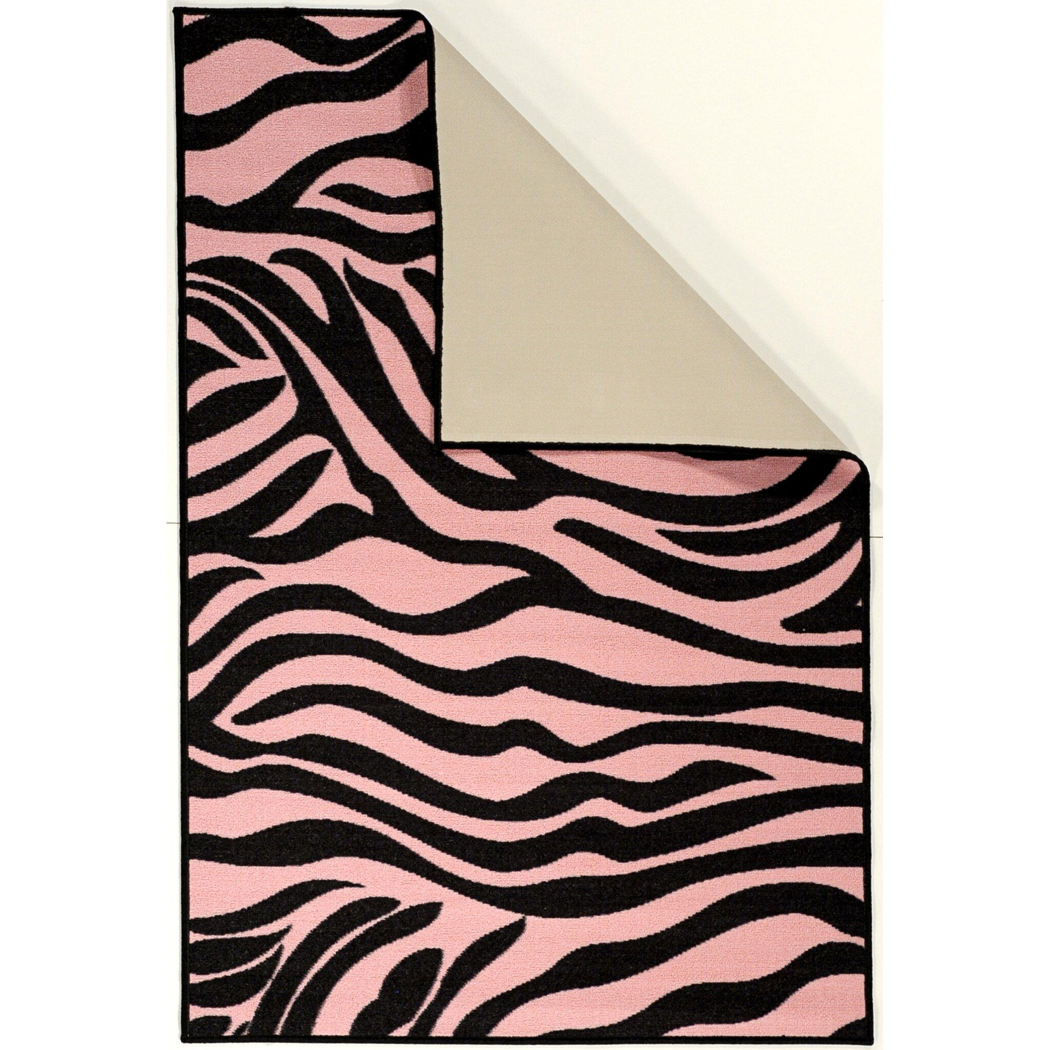 Zebra Sculpture Area Rug: Pink Black Animal Print Zebra Area Rug