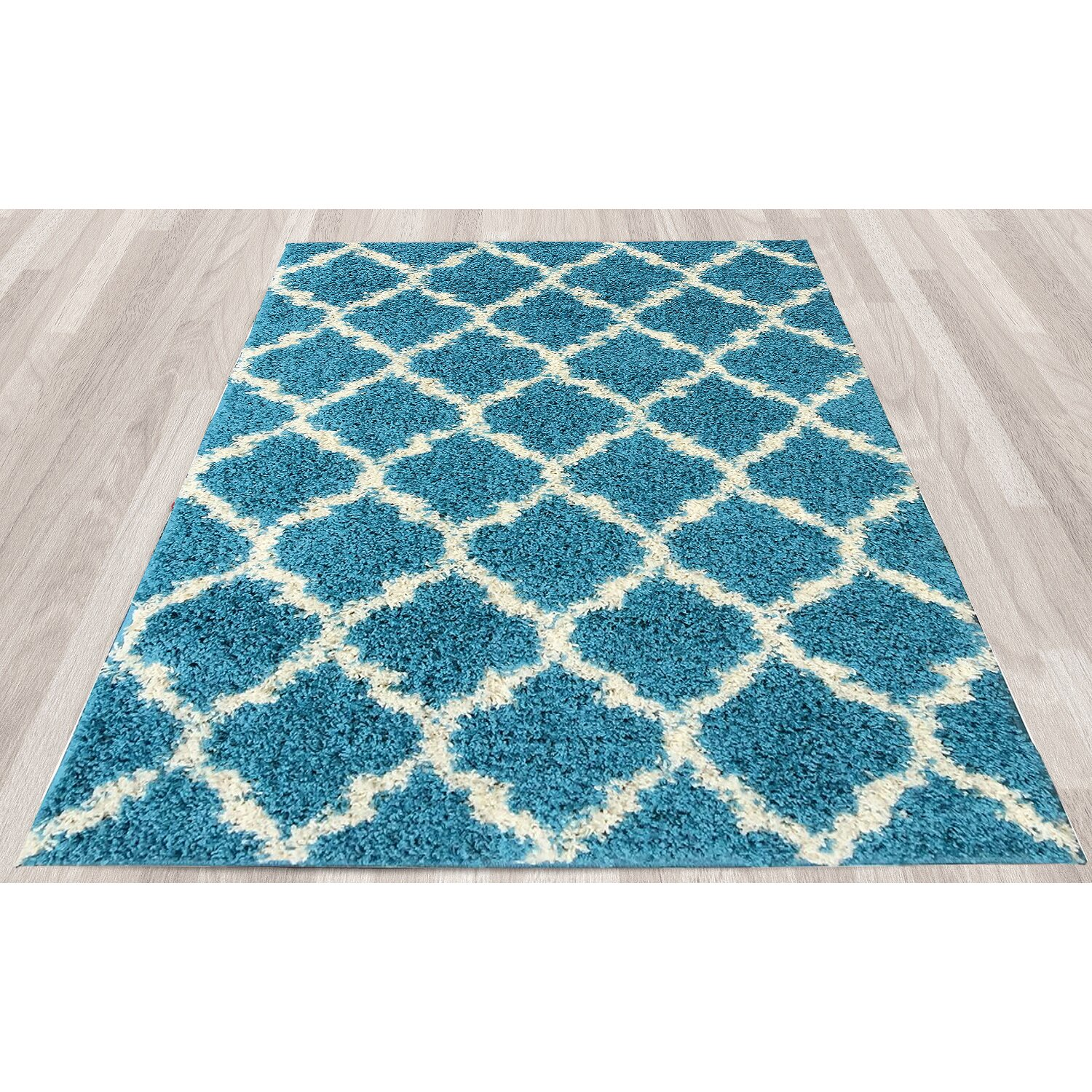 Ottomanson ultimate moroccan trellis soft turquoise shaggy for Soft area rugs