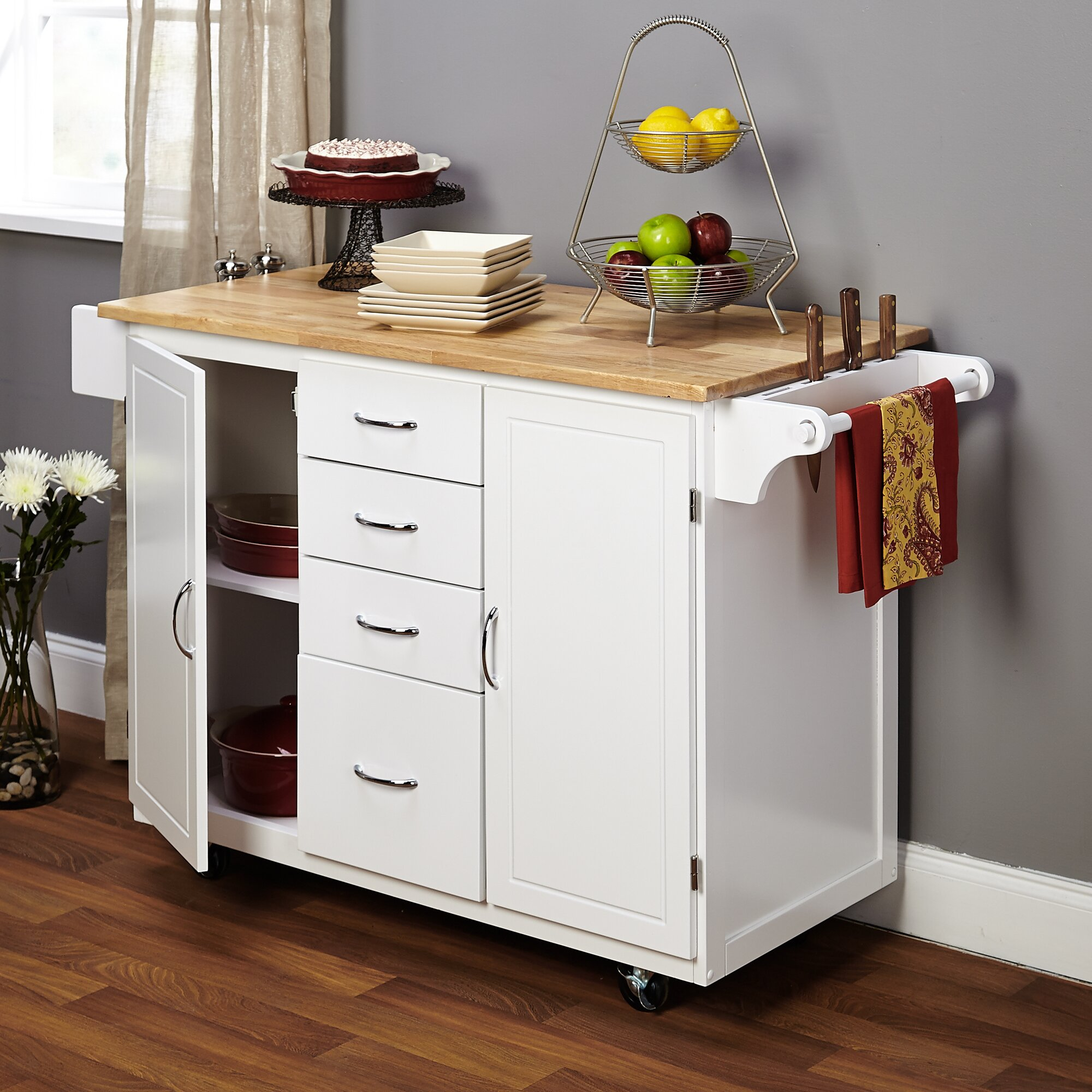 tms cottage kitchen island with wooden top reviews wayfair