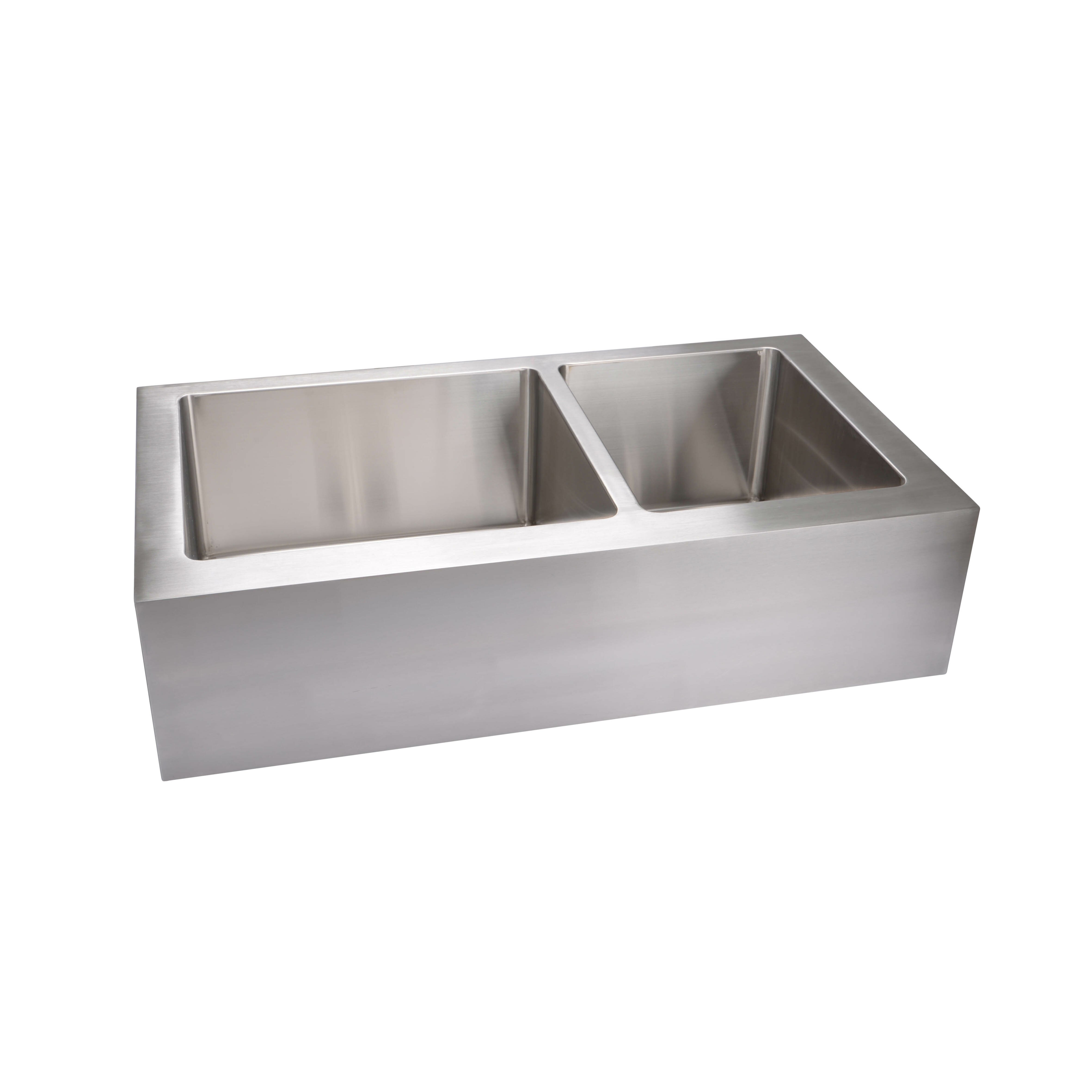 "Hahn Notched Farmhouse Kitchen Sink: 35.88"" X 20.75"" Extra Large Stainless Steel Flat Front"