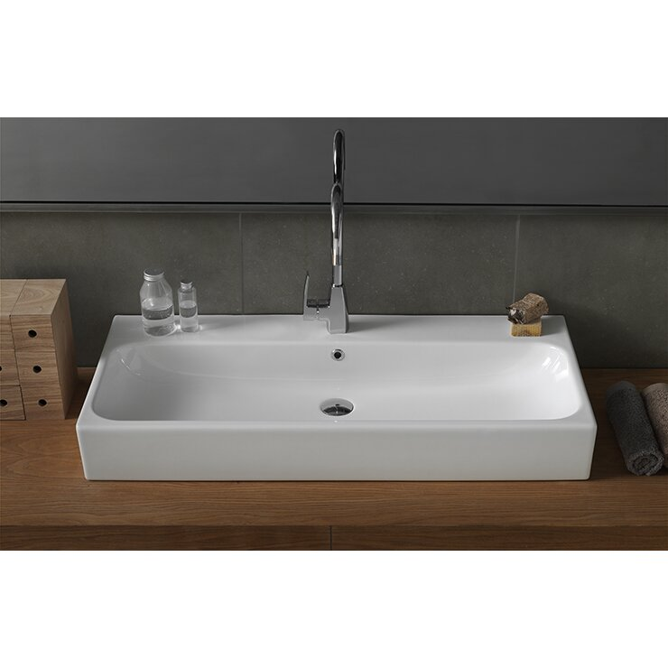 CeraStyle by Nameeks Pinto Rectangle Ceramic Bathroom Sink