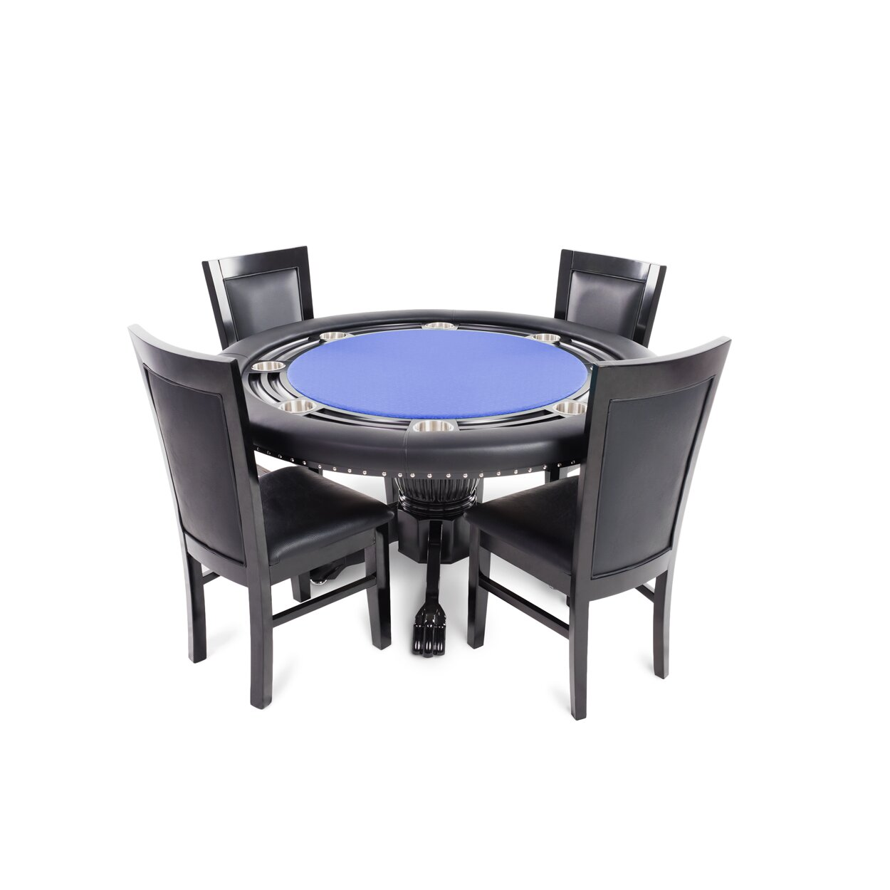 BBO Poker Nighthawk 5 Piece Poker Dining Table Set with