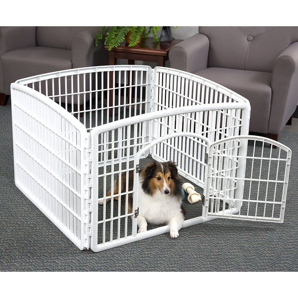 White Plastic Pet Pen For Travel Four Panel Weather Resistant