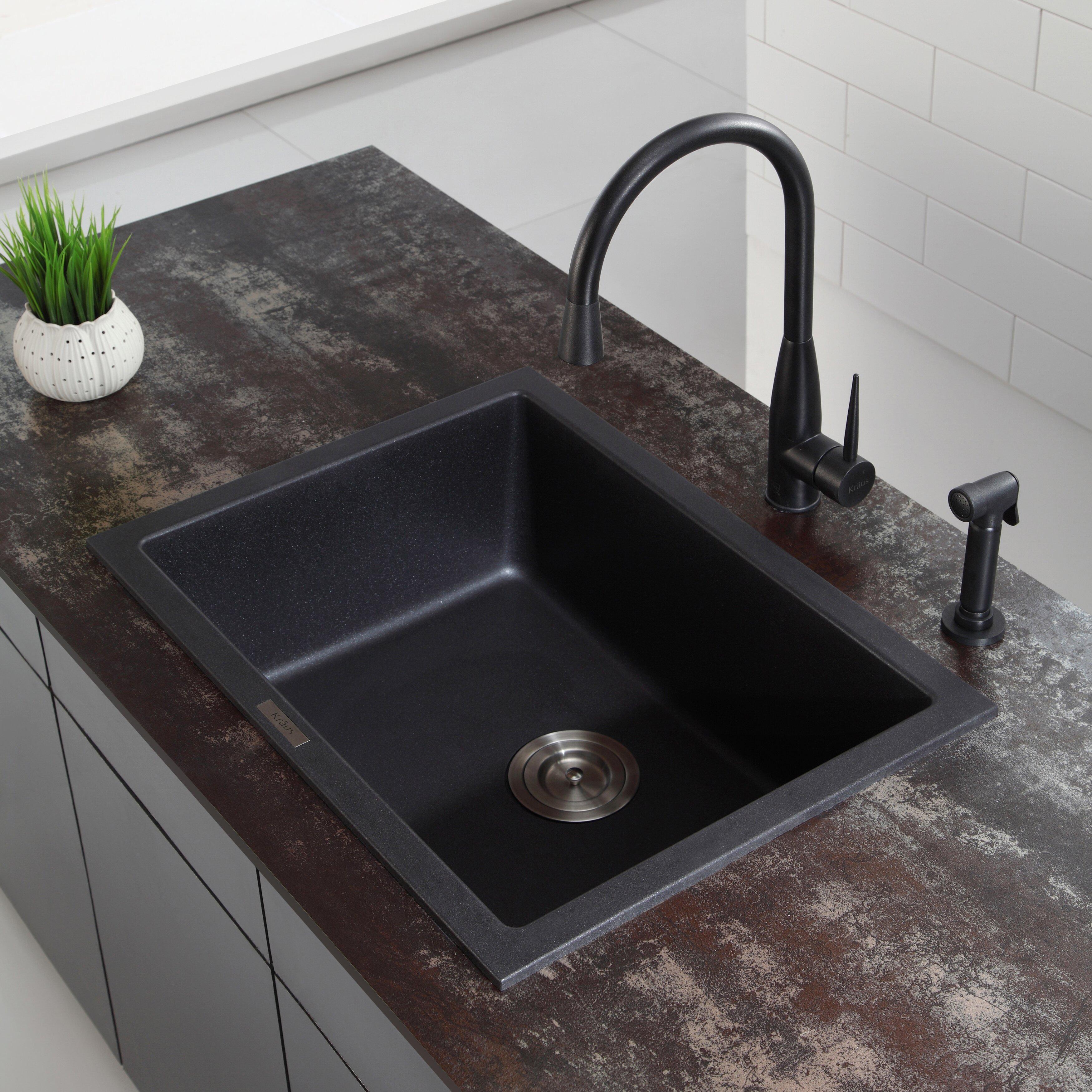 """Kraus 18"""" Dual Mount Single Bowl Granite Kitchen Sink"""