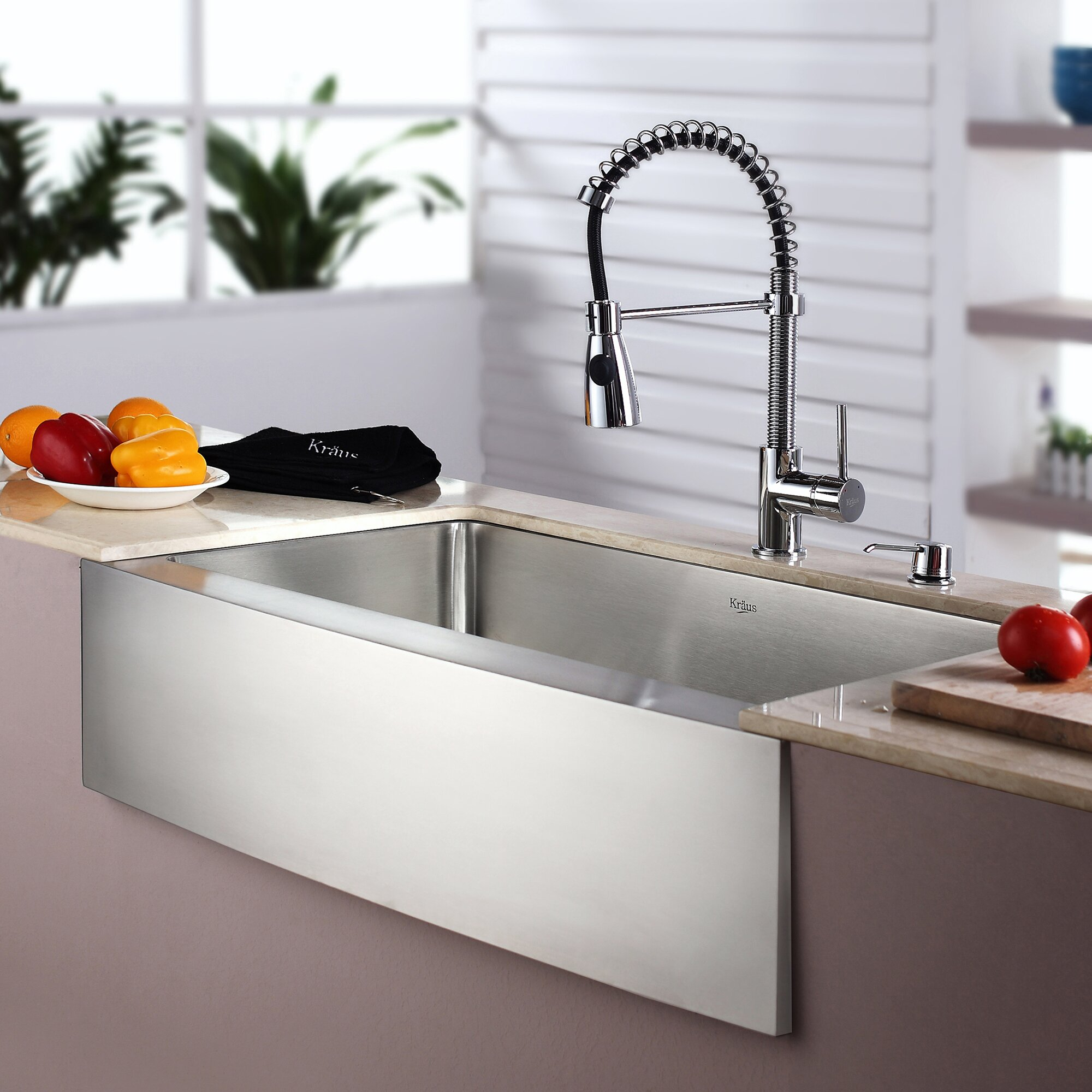 Best Stainless Farmhouse Sink : ... Farmhouse Stainless Steel Kitchen Sink with Faucet & Reviews Wayfair