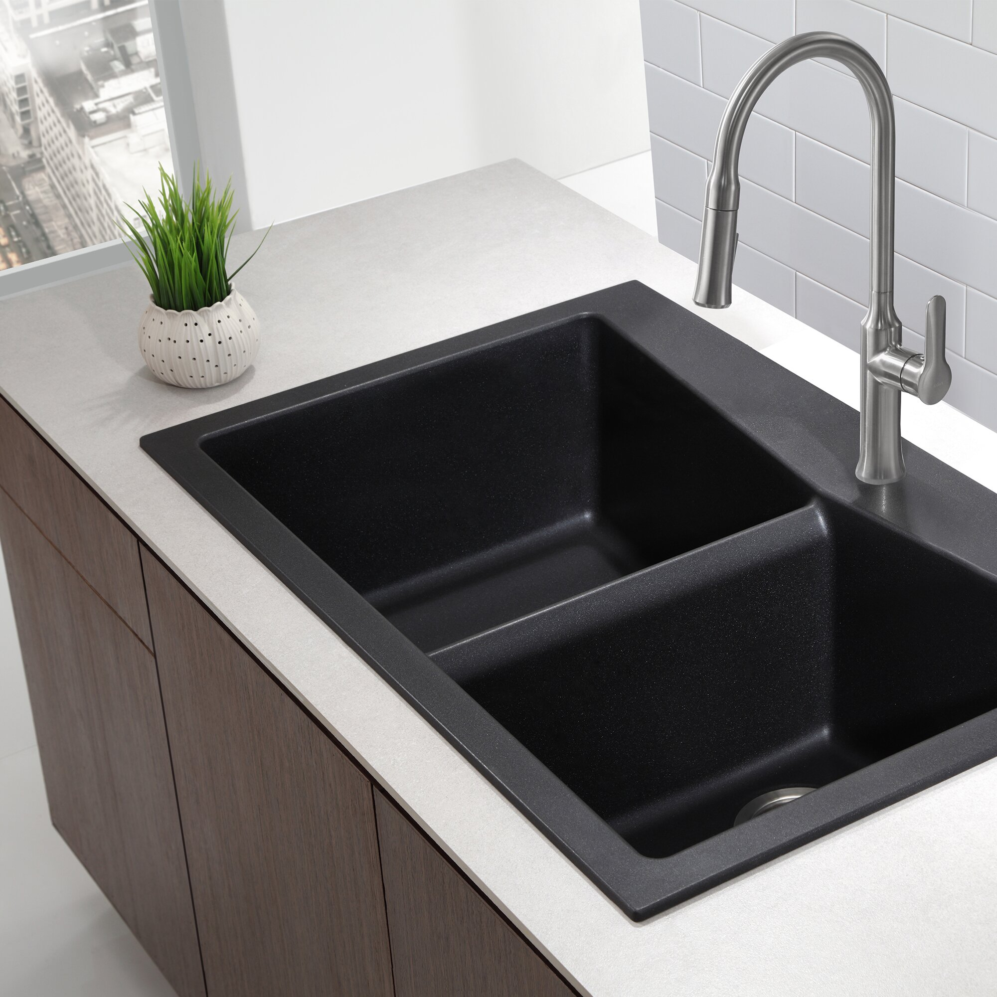 Granite Kitchen Sinks : ... Dual Mount 60/40 Double Bowl Granite Kitchen Sink & Reviews Wayfair