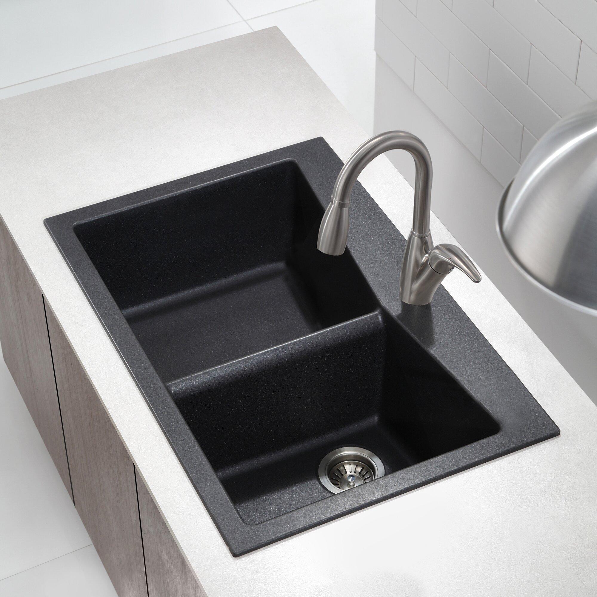 ... Dual Mount 60/40 Double Bowl Granite Kitchen Sink & Reviews Wayfair