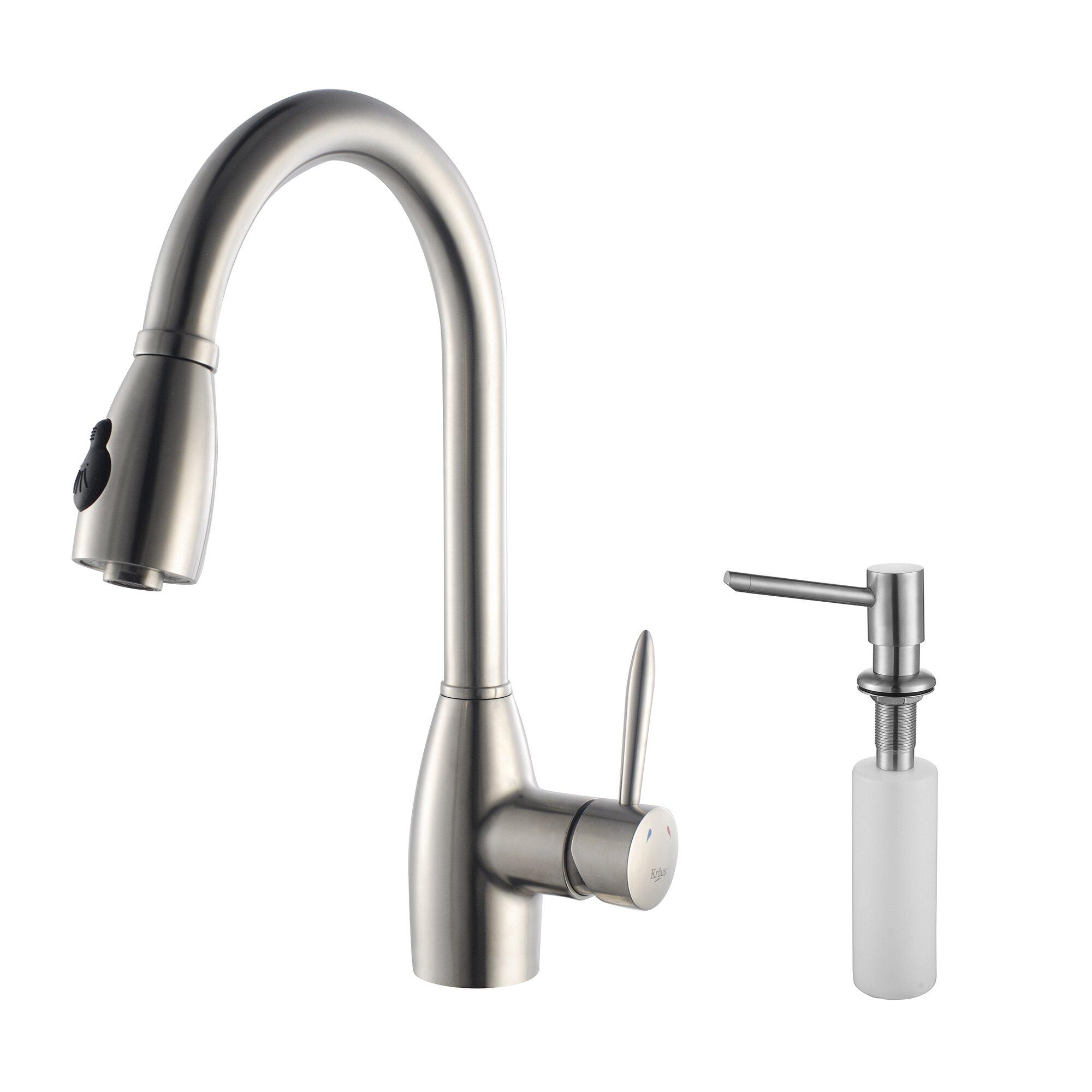 kraus single handle single hole kitchen faucet amp reviews kraus mateo single lever pull down kitchen faucet