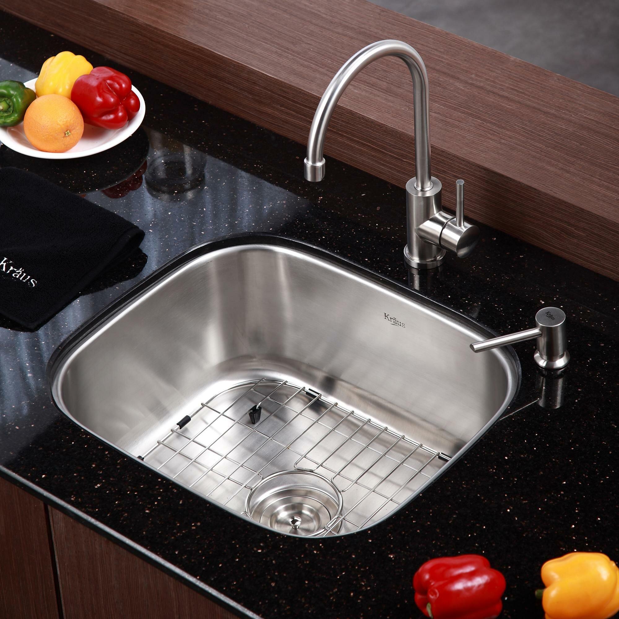 Kraus Stainless Steel Undermount Single Bowl Kitchen Sink with Kitchen ...
