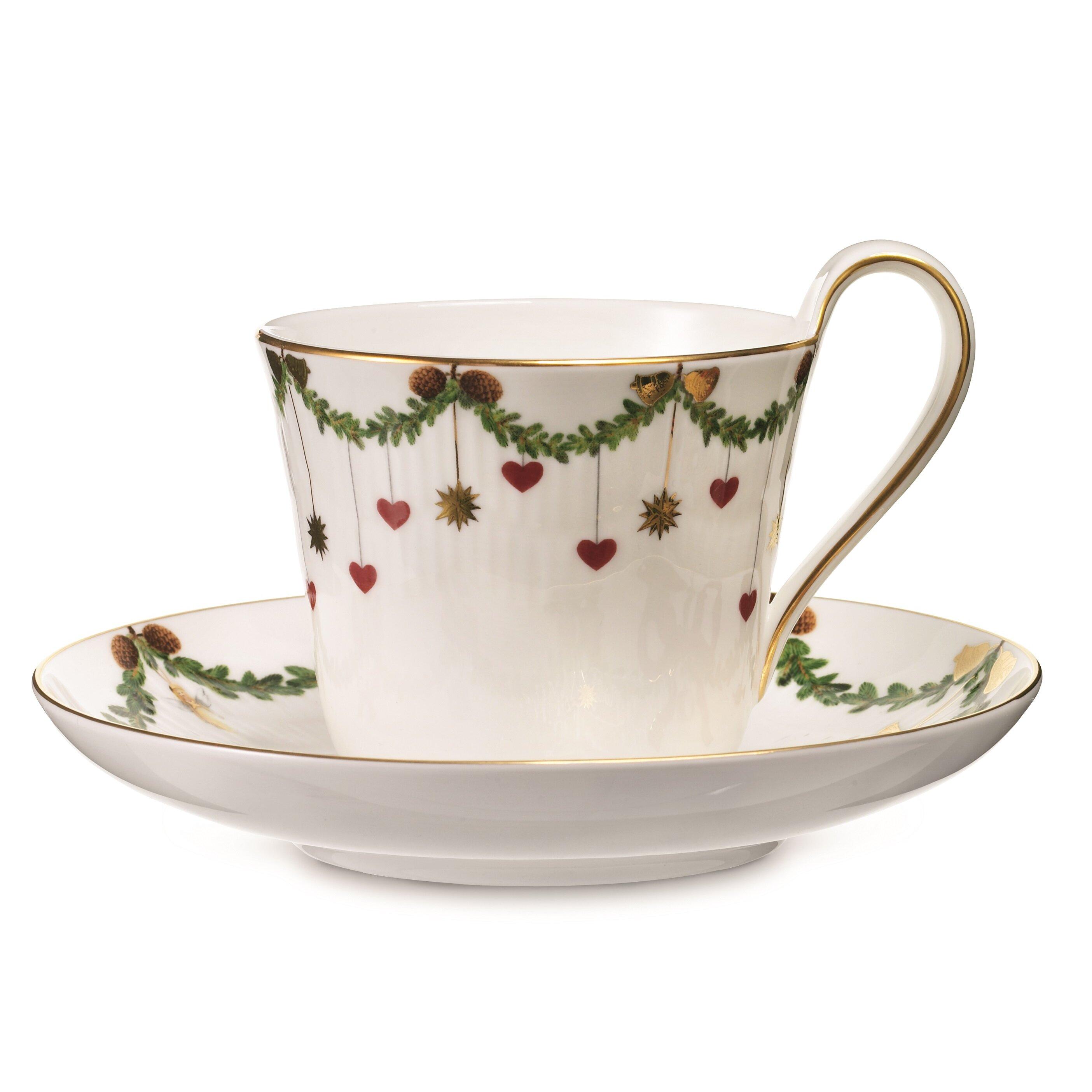 Star Fluted Christmas High Handle Cup and Saucer   Wayfair