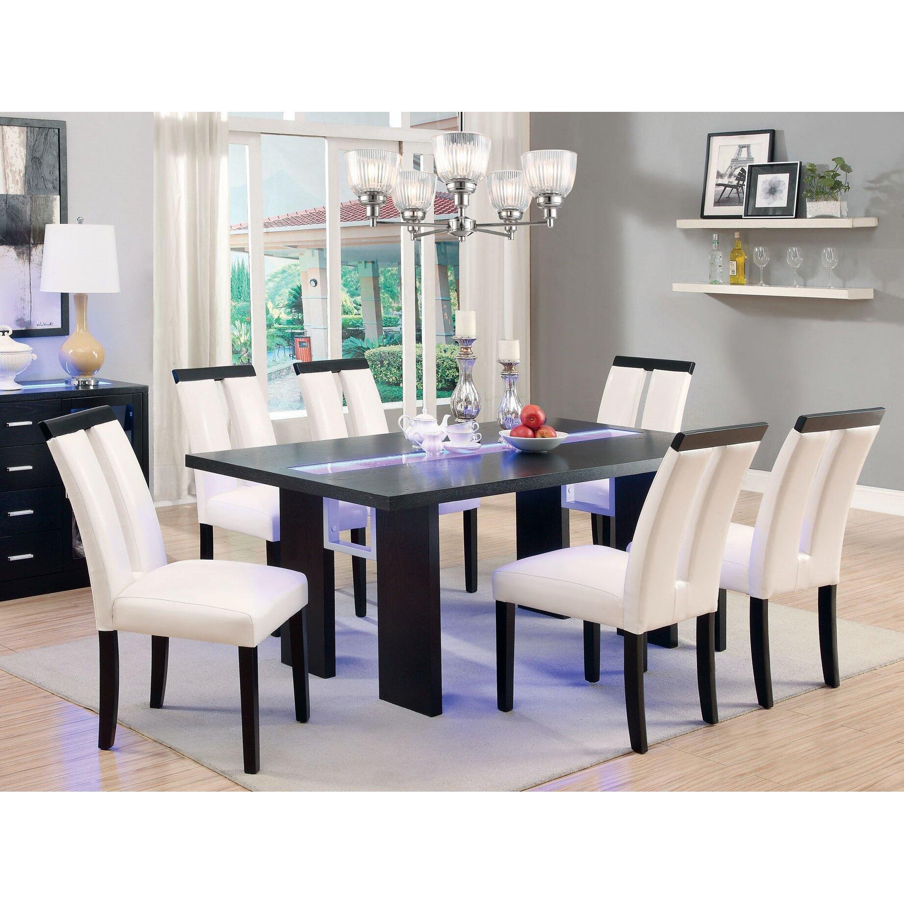 Coaster Carone Contemporary Glam Dining Room Set With: Hokku Designs Luminate 7 Piece LED Dining Set & Reviews