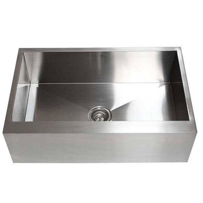 "eModern Decor Ariel 33"" x 21"" Stainless Steel Single Bowl Farmhouse"