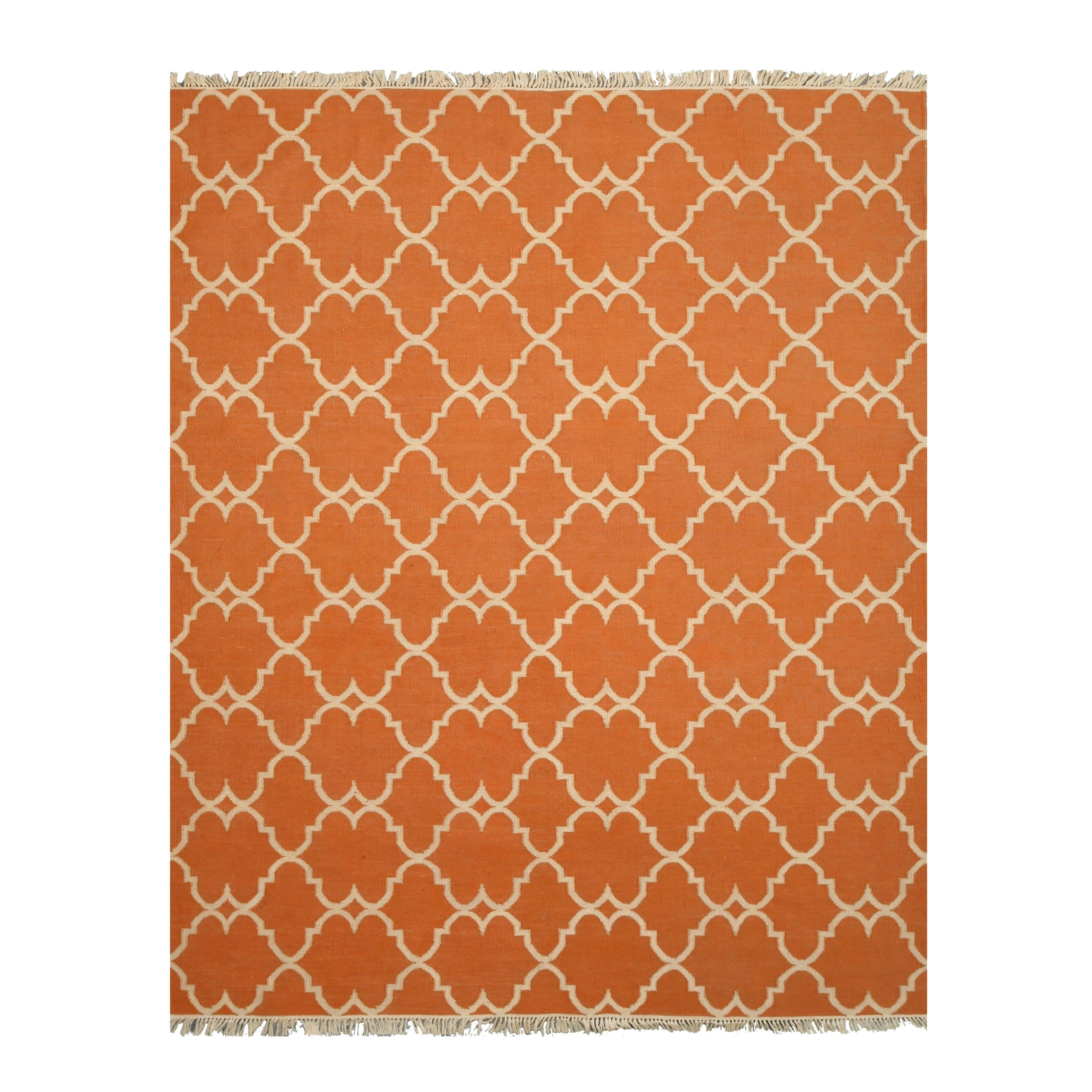 Hand Knotted Orange Outdoor Area Rug