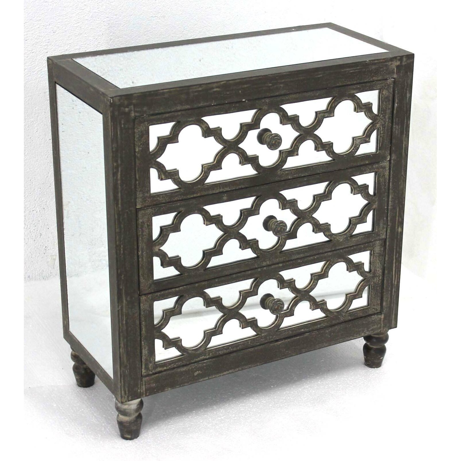 Wonderful image of Teton Home Wooden 3 Drawers Wood Cabinet Mirrored AF 080 AF 080.jpg with #5E5950 color and 1604x1604 pixels