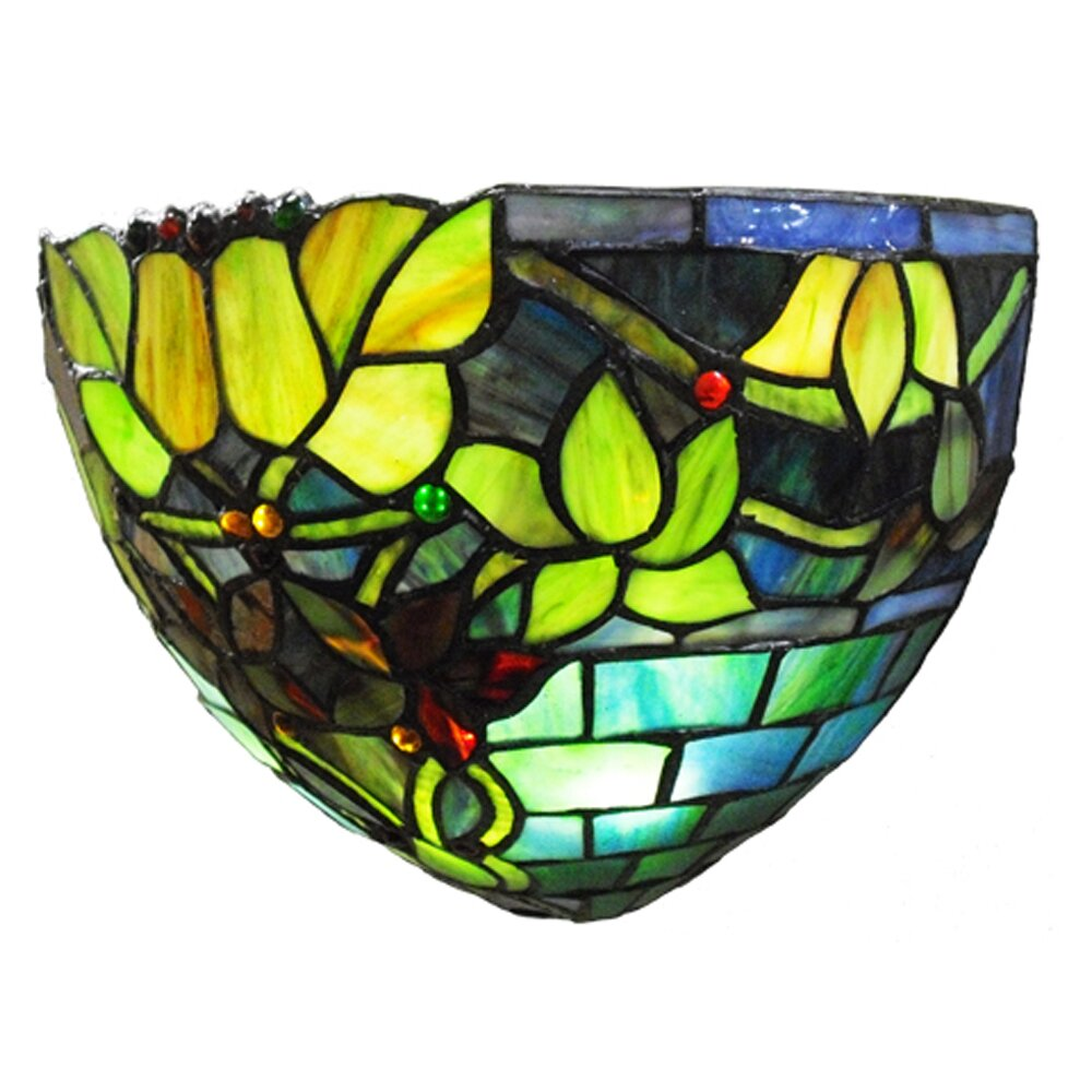 Wall Sconces Stained Glass : River of Goods Hampstead Tiffany Style Stained Glass LED Wall Sconce & Reviews Wayfair