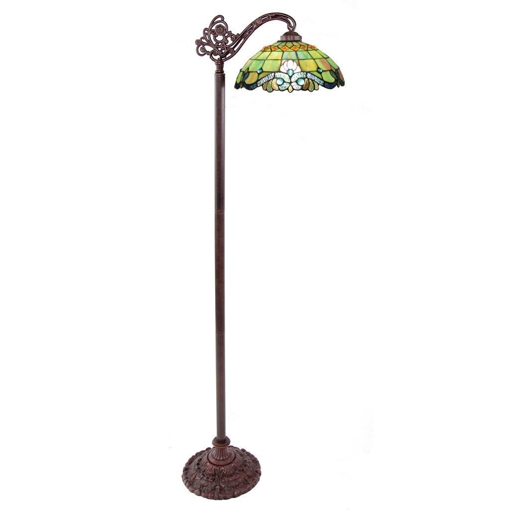 goods vivaldi tiffany style stained glass 60 5 h side arm floor lamp. Black Bedroom Furniture Sets. Home Design Ideas
