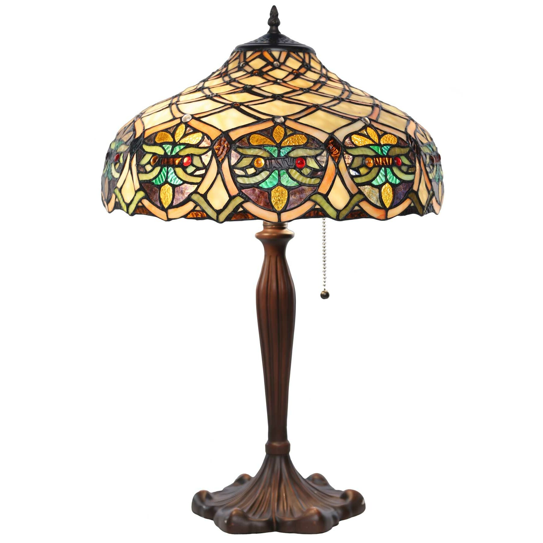 lattice tiffany style stained glass 25 h table lamp wayfair. Black Bedroom Furniture Sets. Home Design Ideas