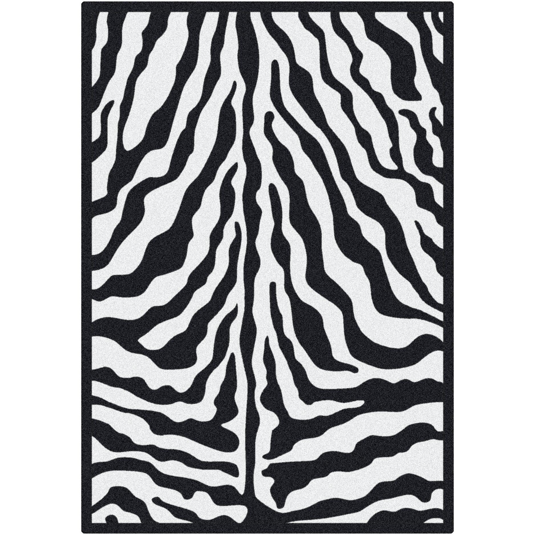 Milliken Black & White Zebra Glam Black Ink Area Rug