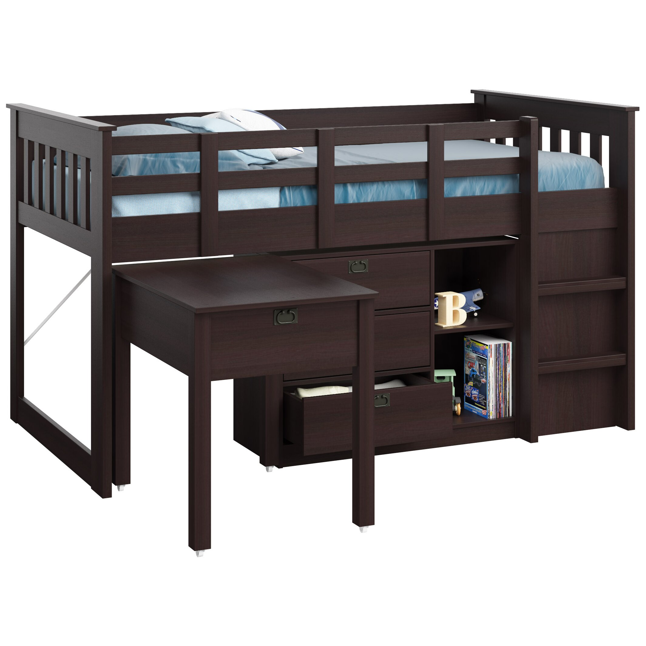 Loft Bed: CorLiving Madison Twin Low Loft Bed With Storage & Reviews