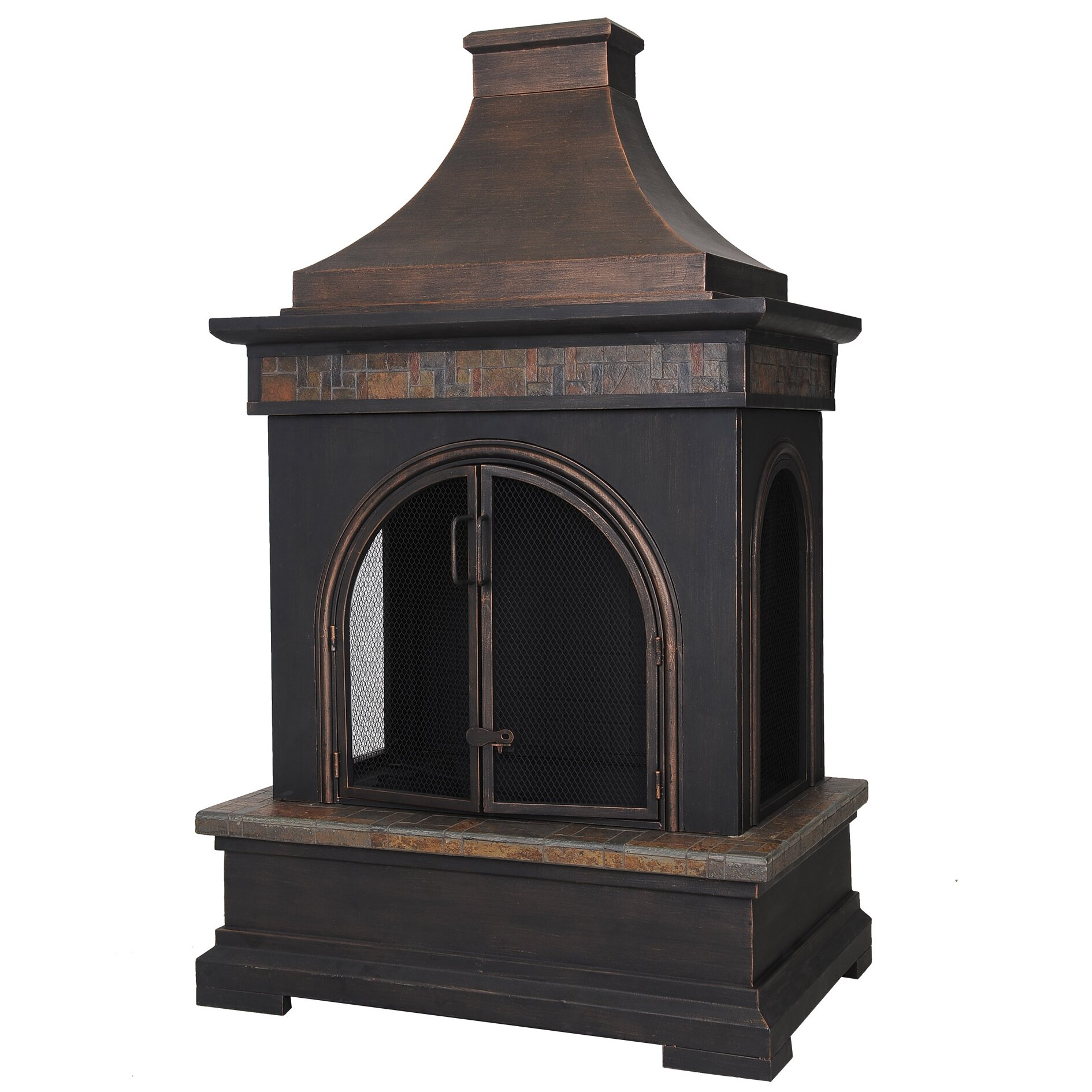 Hardy Slate And Steel Outdoor Fireplace Wayfair
