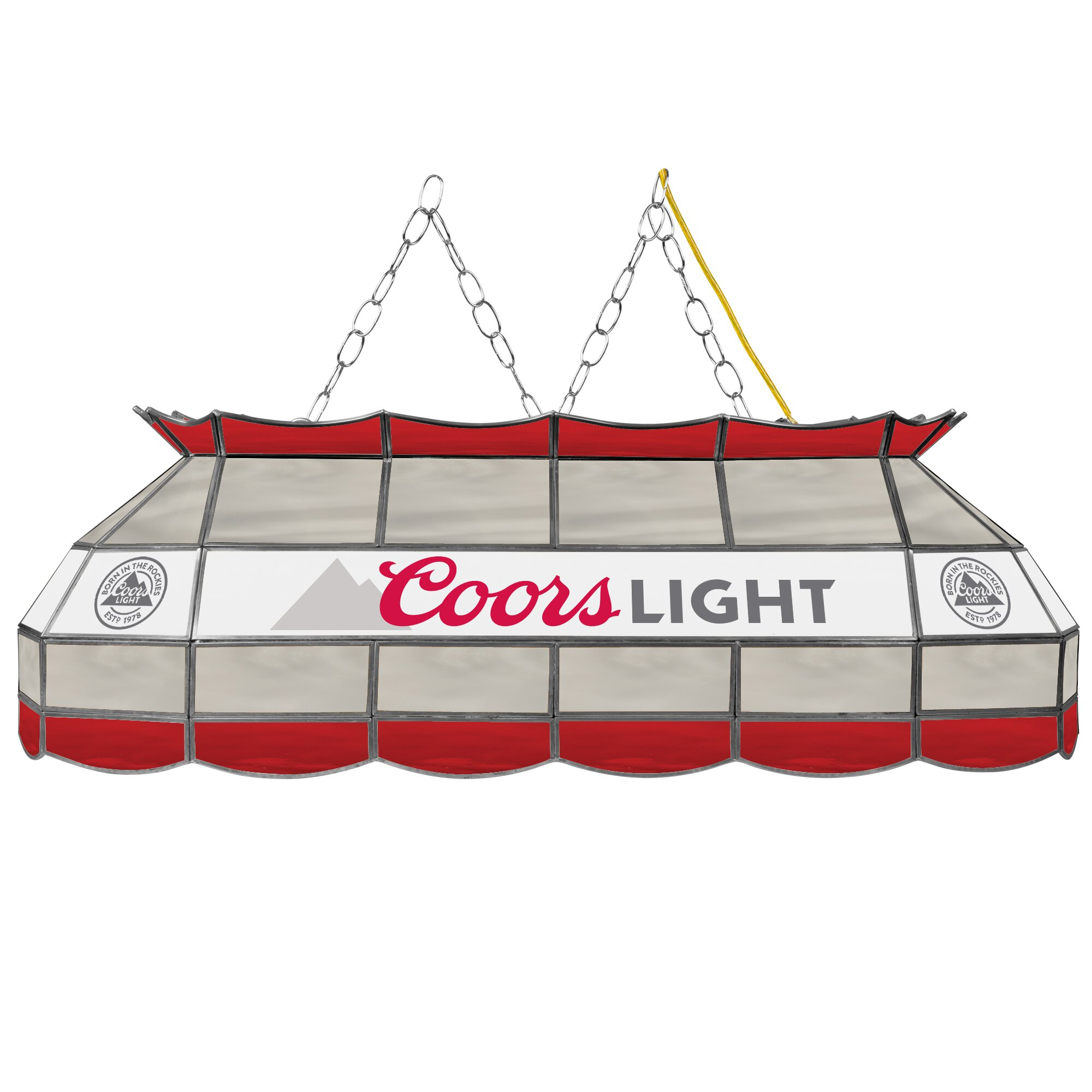 Coors Light Stained Glass Pool Table Light: 3 Light Pool Table Light