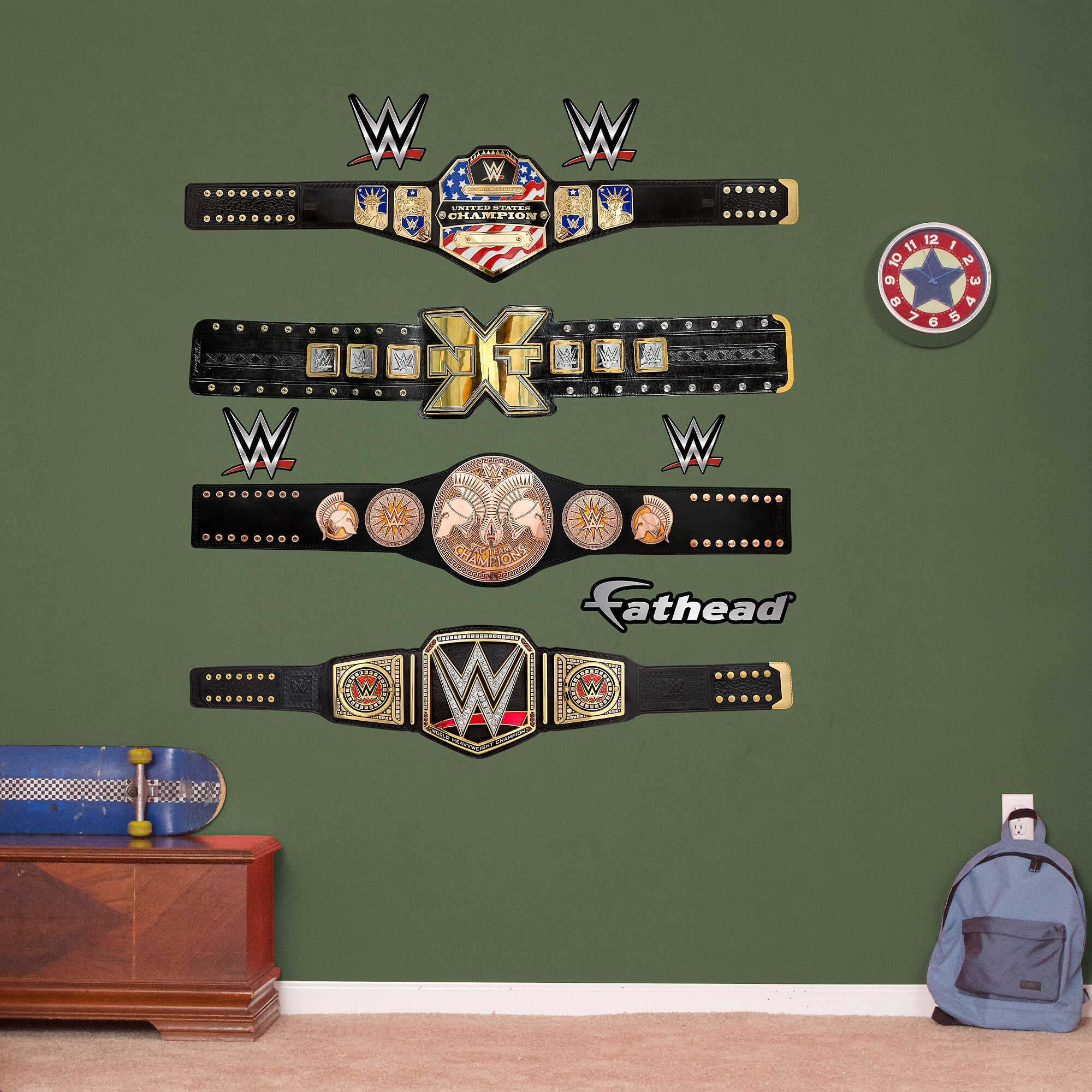 Wwe title belts peel and stick wall decal wayfair for Wwe bathroom decor