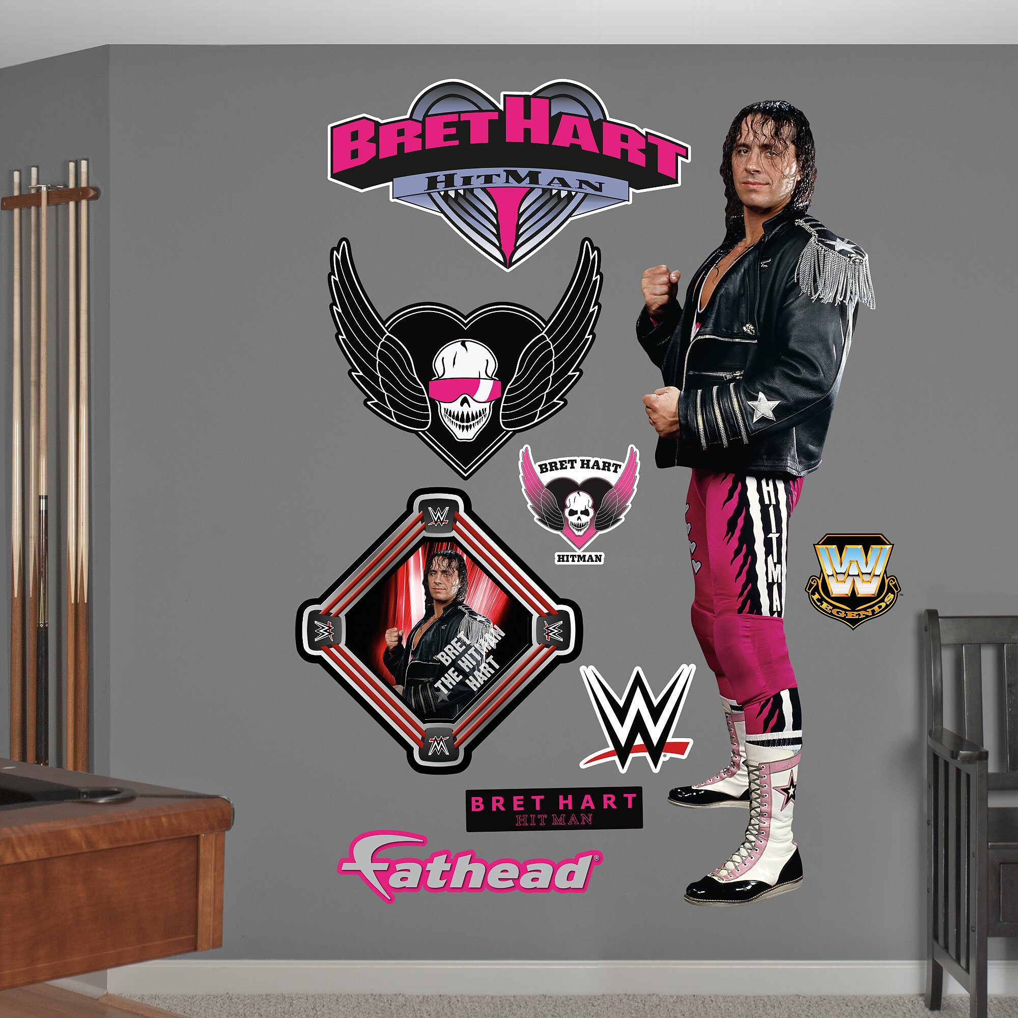 wwe bret the hitman hart peel and stick wall decal wayfair fathead junior randy orton wall decal babies quot r quot us