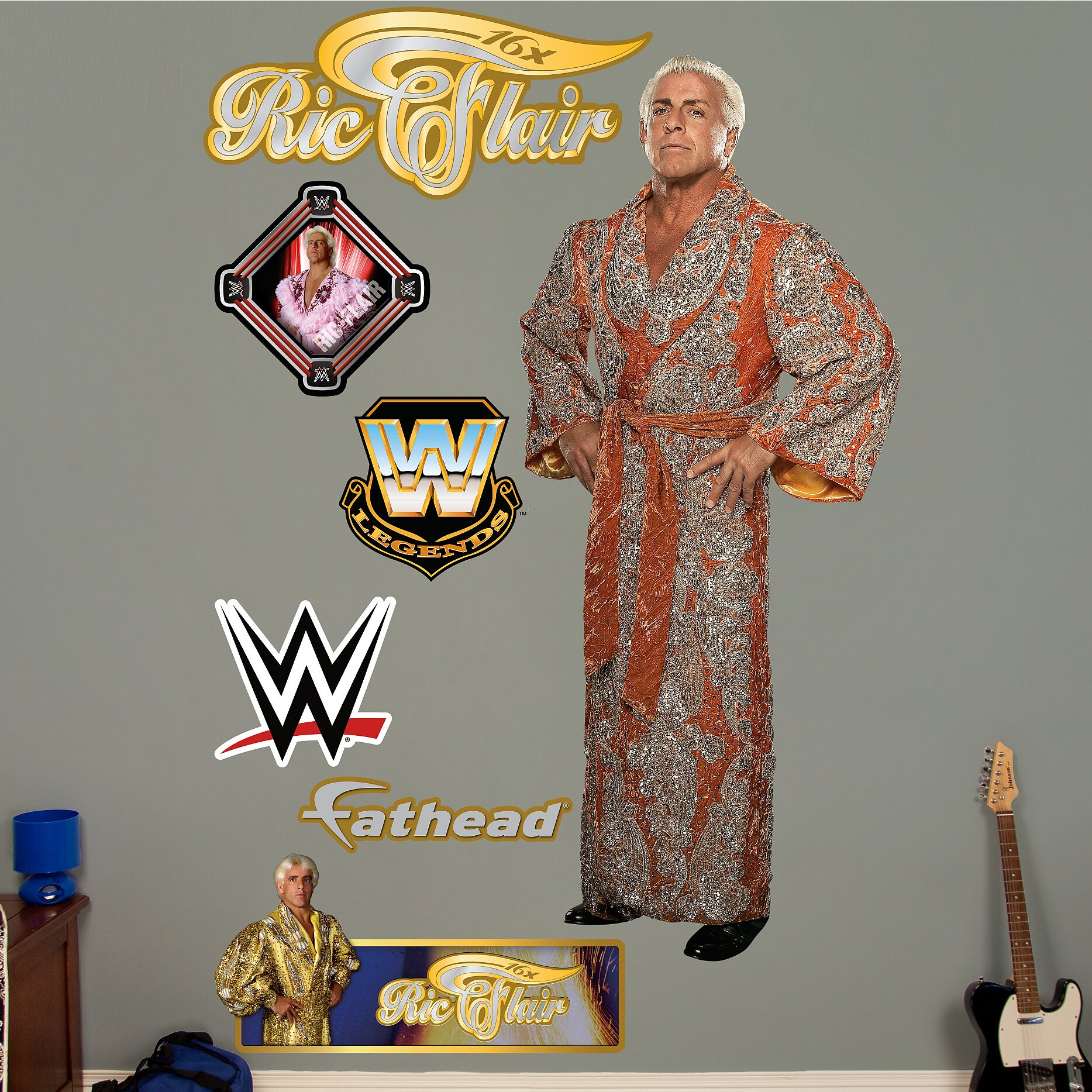 wwe ric flair peel and stick wall decal wayfair wwe wall decals roselawnlutheran