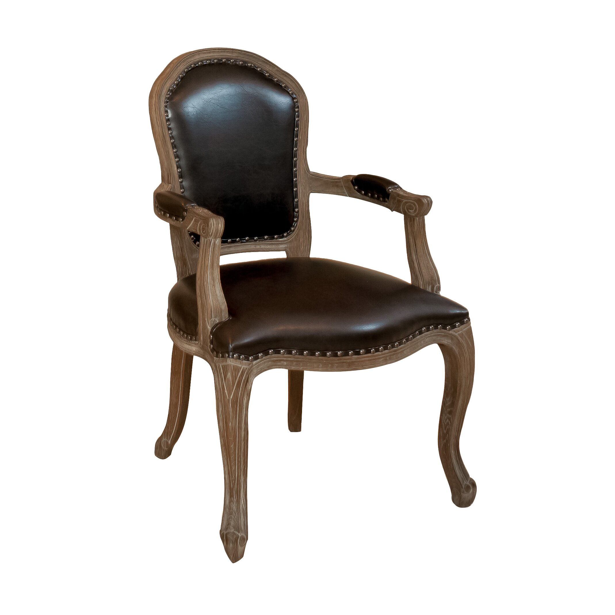 Concepts Carolina Leather Weathered Wood Arm Chair & Reviews Wayfair. Full resolution‎  snapshot, nominally Width 2138 Height 2138 pixels, snapshot with #634B37.