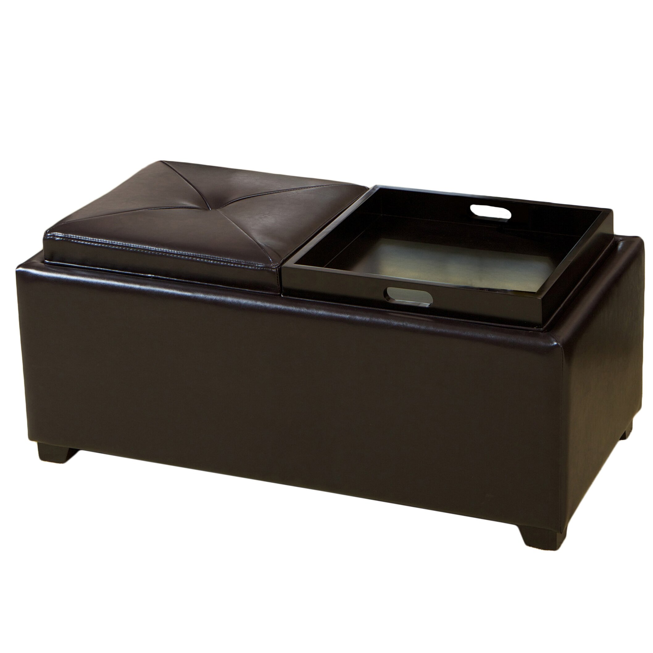 darby home co cassy leather storage tray ottoman reviews wayfair. Black Bedroom Furniture Sets. Home Design Ideas