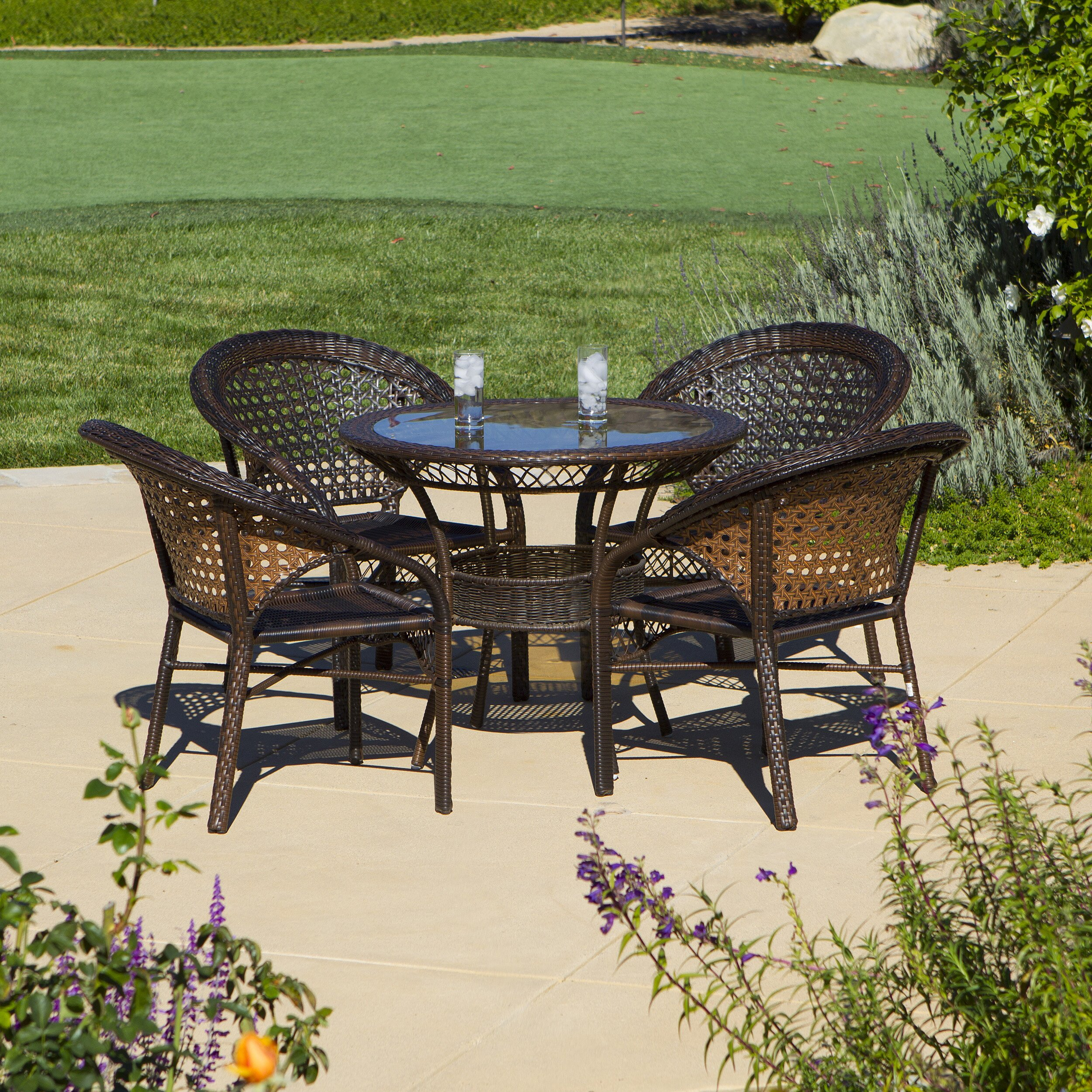 Home Loft Concepts Andre 5 Piece Wicker Outdoor Dining Set