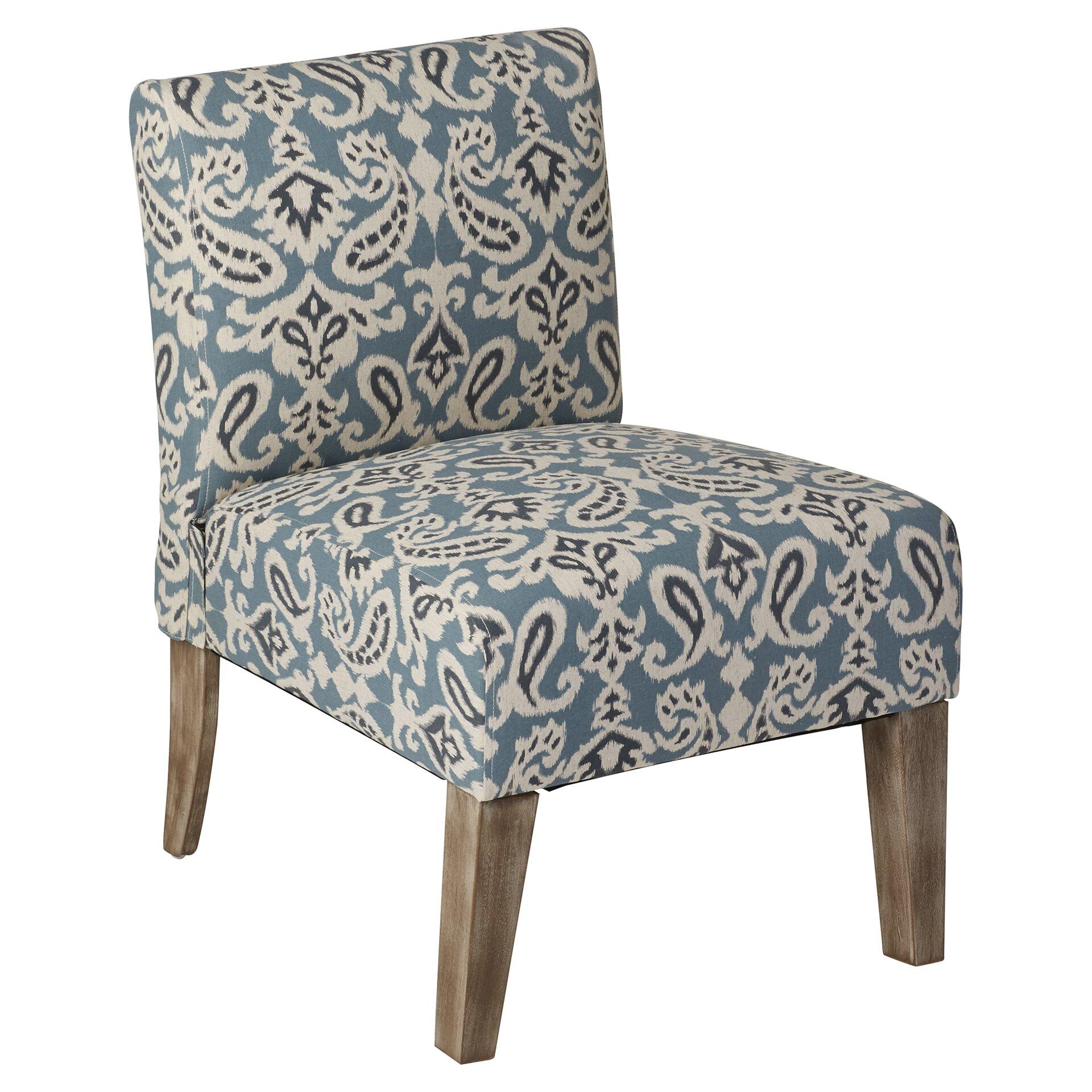 Blue tufted slipper chair - Filename Paisley Slipper Chair In Blue Jpg