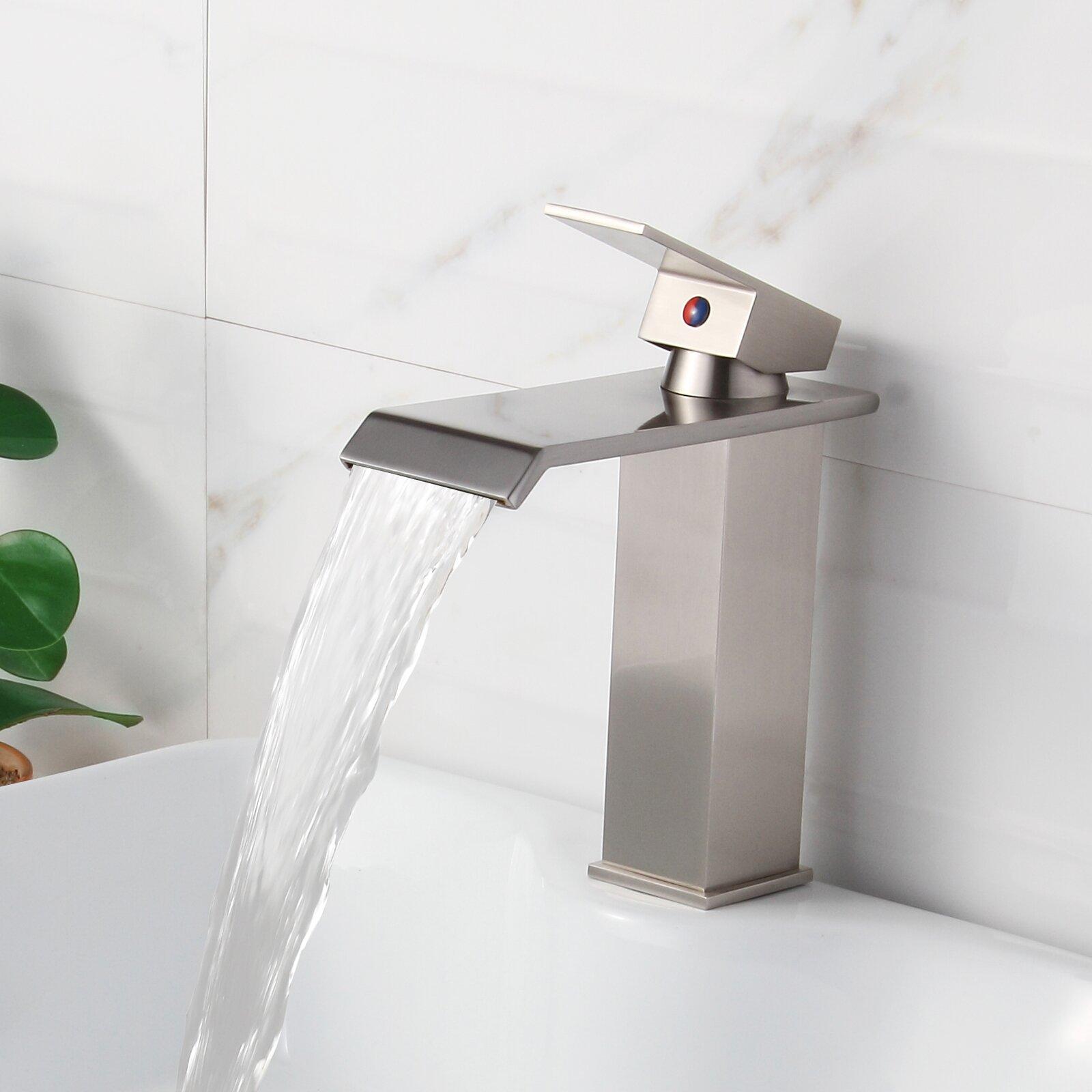 Single Handle Waterfall Bathroom Faucet : Elite Single Handle Bathroom Waterfall Faucet & Reviews Wayfair
