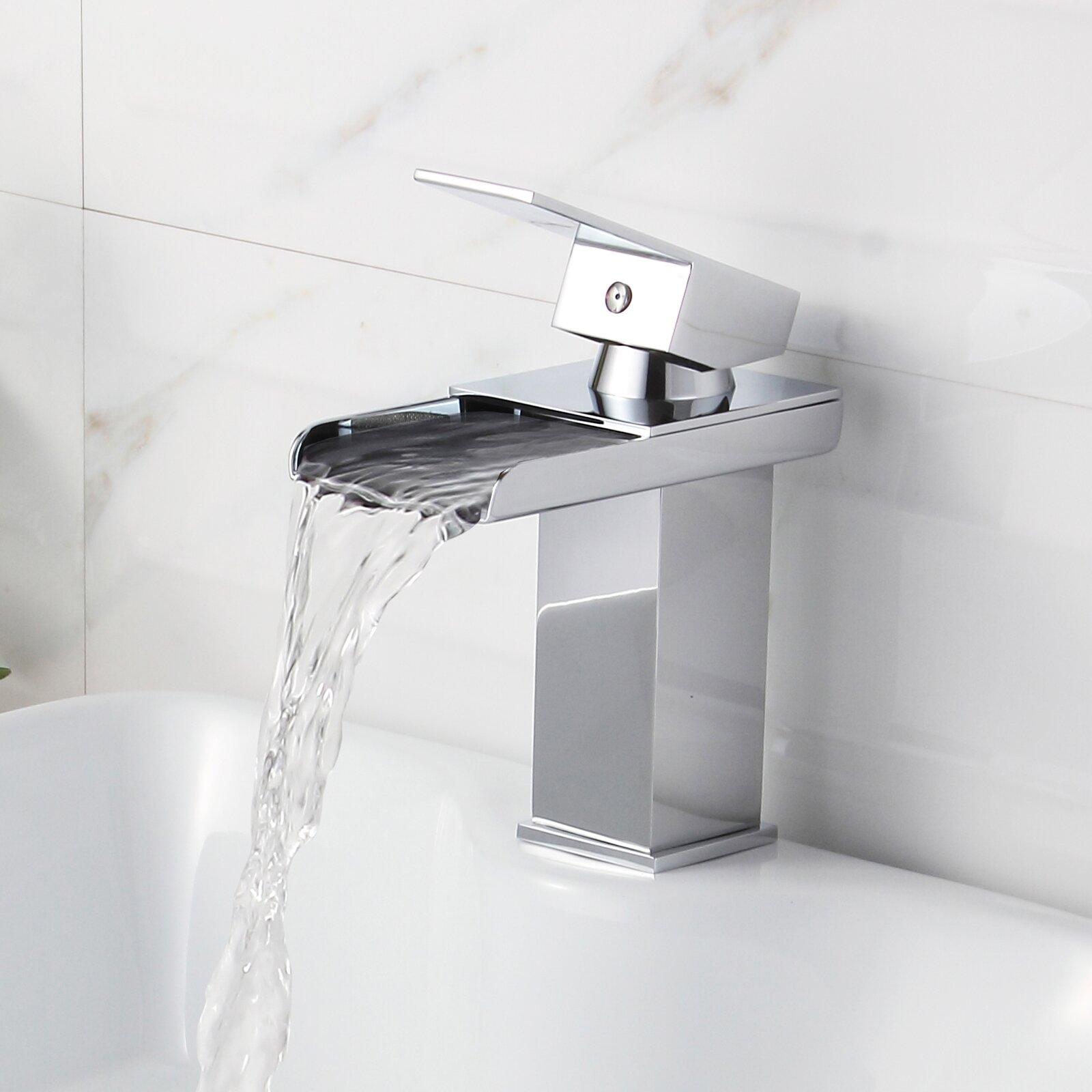 Elite Single Handle Bathroom Sink Waterfall Faucet Reviews Wayfair