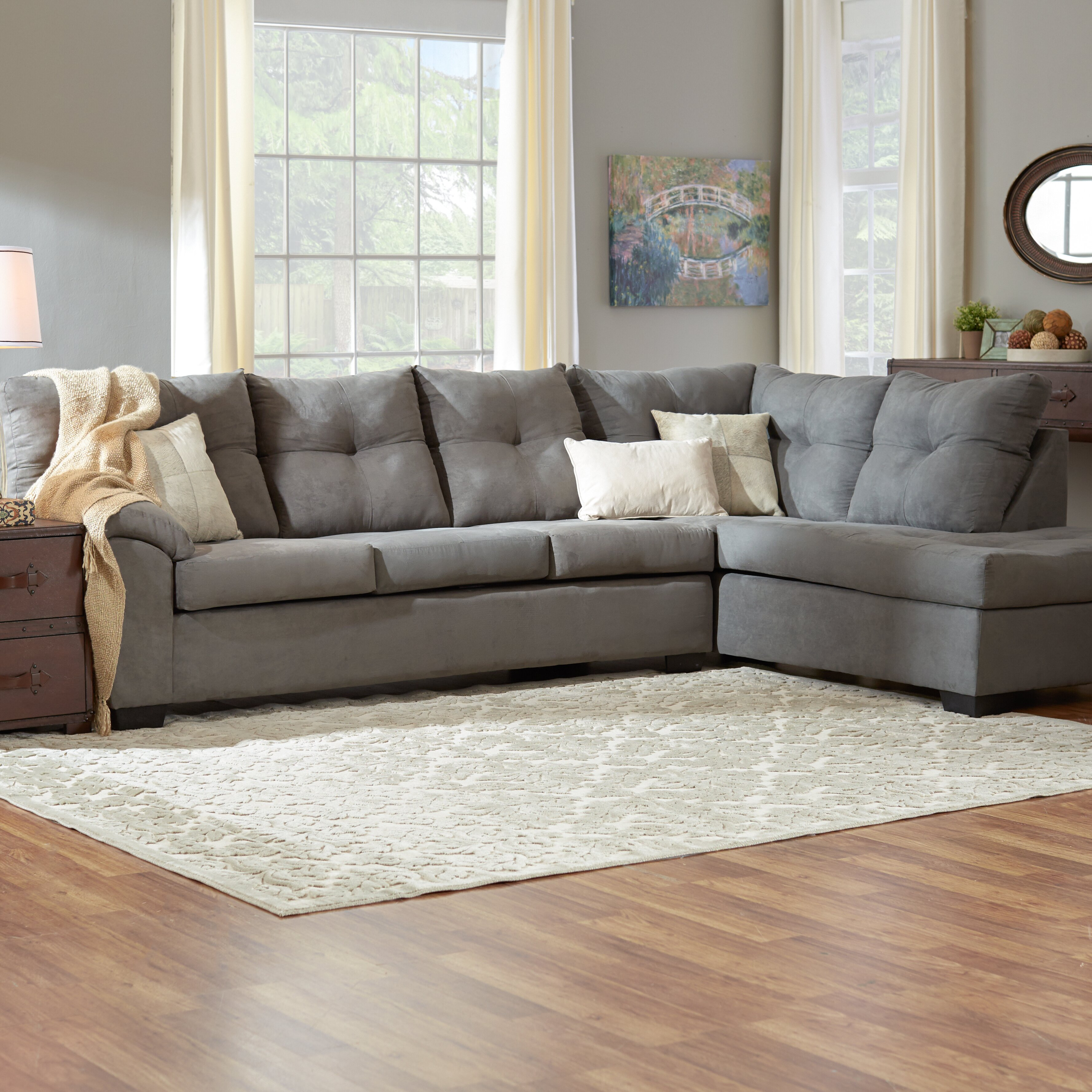 Leather Sectional Sofas Charlotte Nc: Three Posts Charlotte Sectional & Reviews