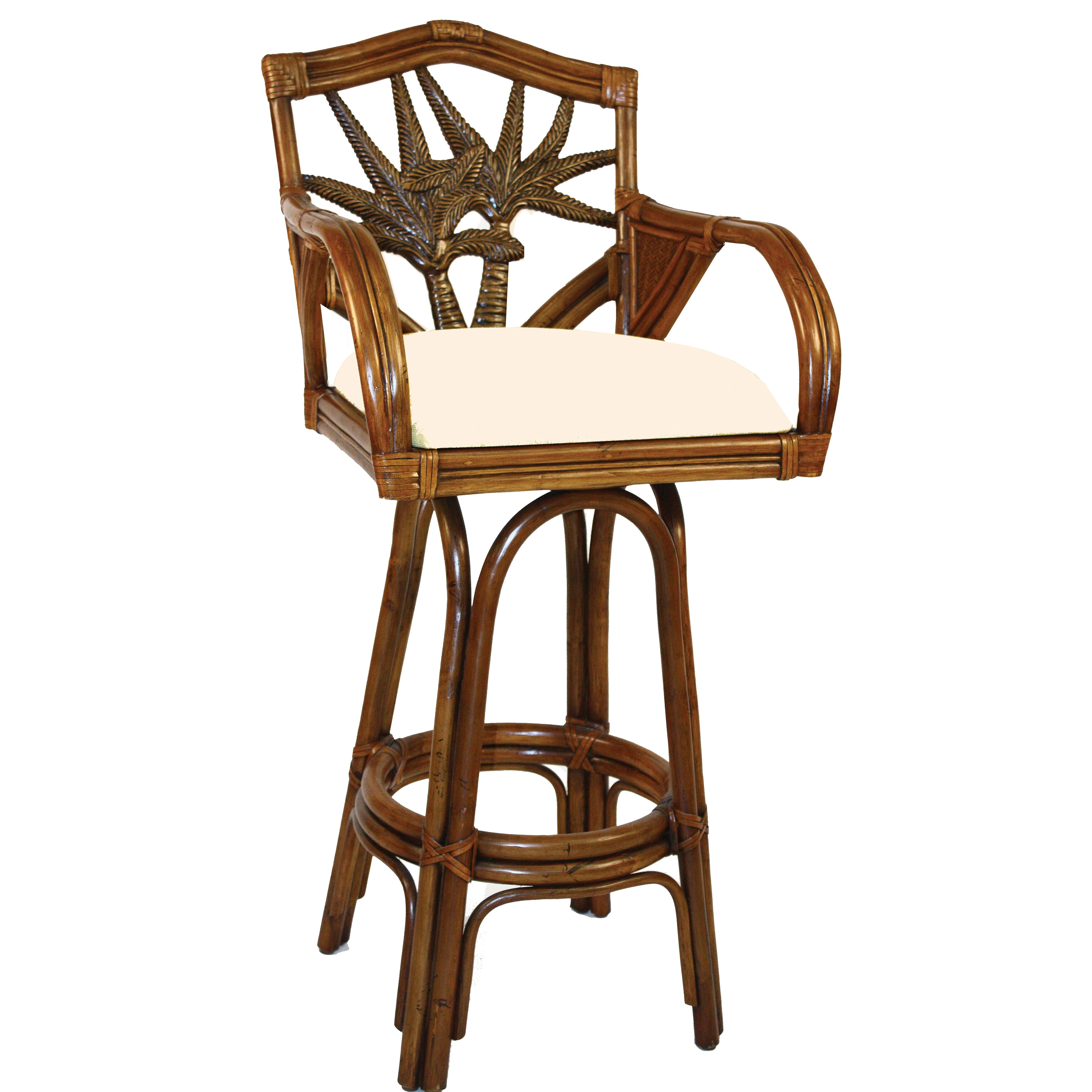 Hospitality Rattan Cancun Palm 30 Quot Swivel Bar Stool With