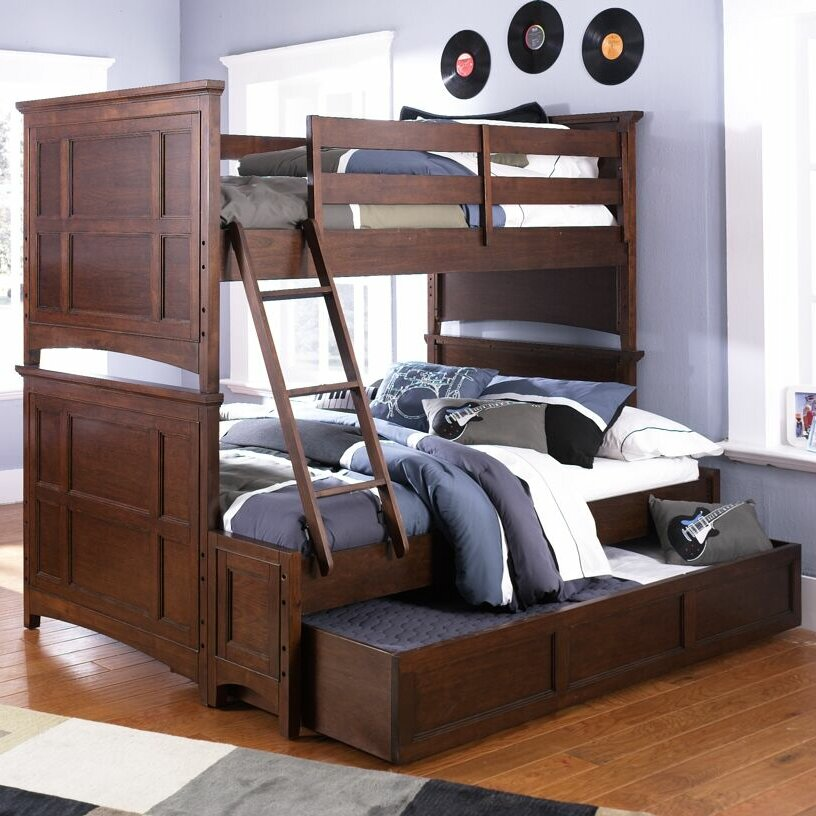 riley twin over full bunk bed with trundle wayfair. Black Bedroom Furniture Sets. Home Design Ideas
