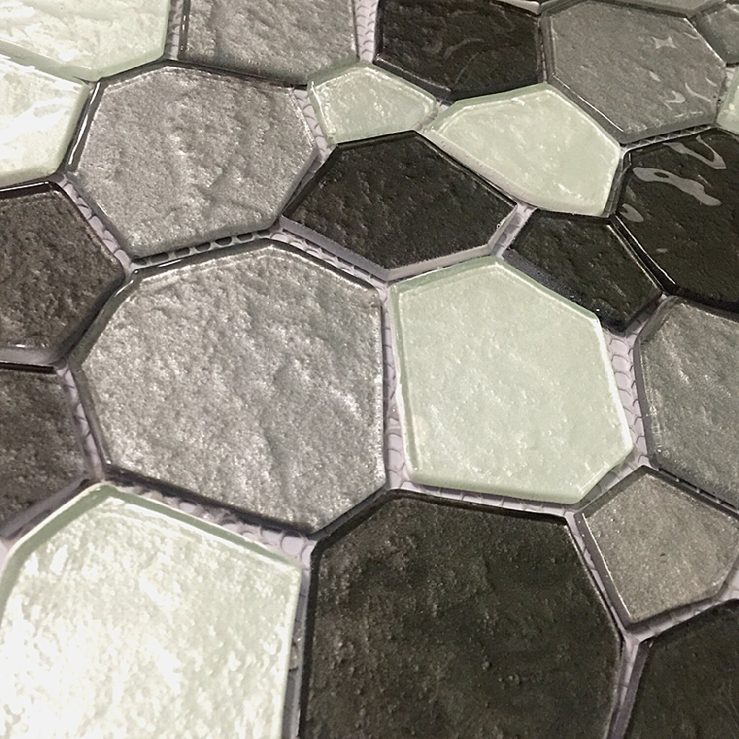 instant mosaic 12 x 12 glass peel and stick mosaic tile in white and gray reviews wayfair. Black Bedroom Furniture Sets. Home Design Ideas