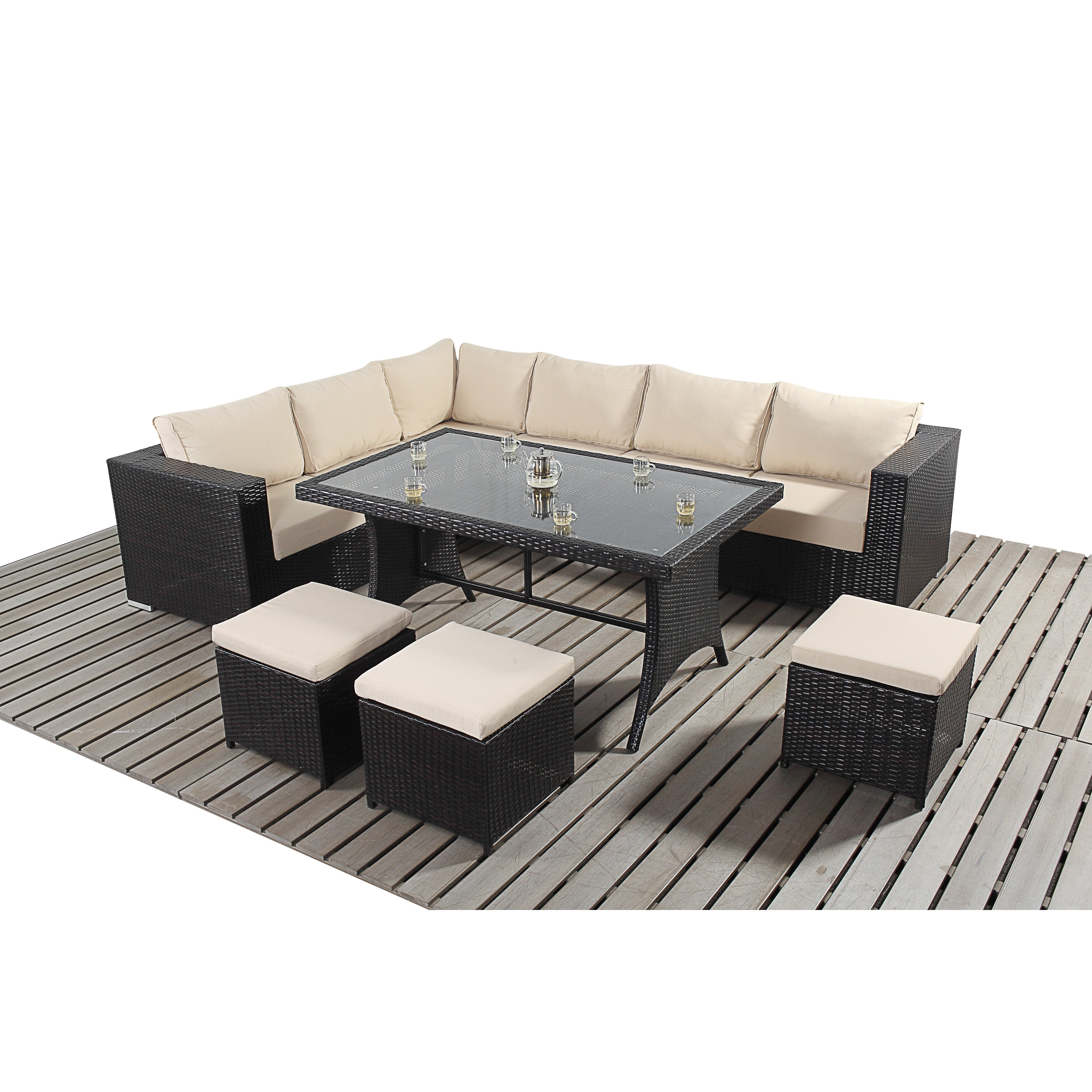 Home etc luxe 9 seater sectional sofa set with cushions for Furniture etc reviews