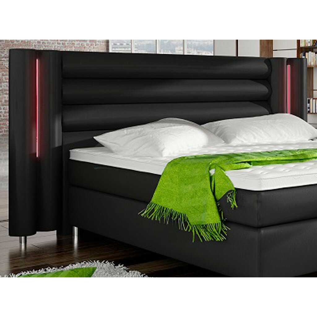 boxspringbett tollense 180x200 kunstleder mit rgb led kopfteilbeleuchtung von home haus. Black Bedroom Furniture Sets. Home Design Ideas