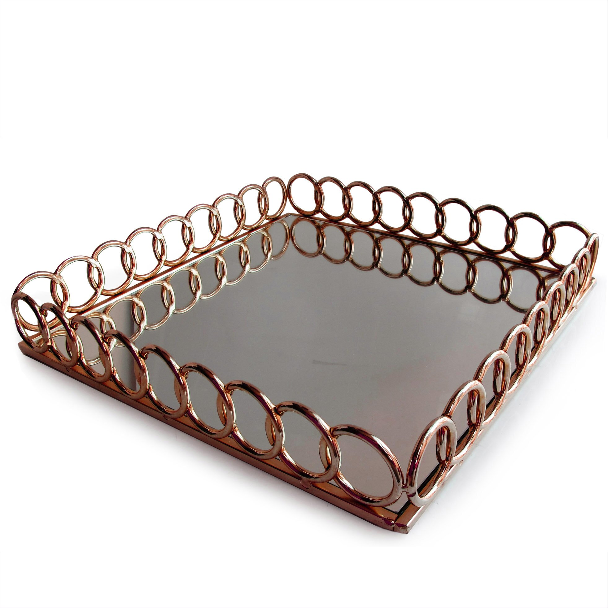 Allure By Jay Looped Copper Square Mirror Tray Amp Reviews