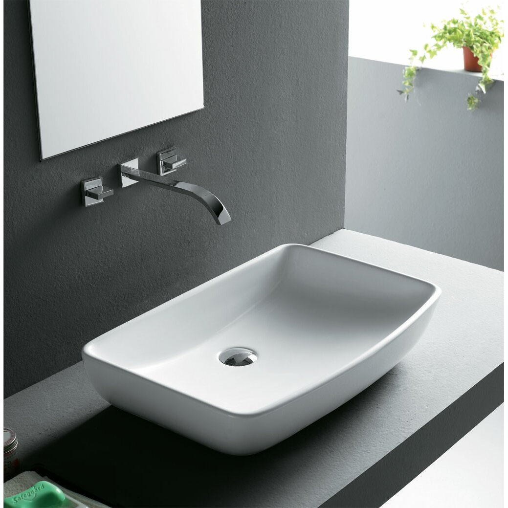 Ryvyr Rectangular Vitreous China Vessel Bathroom Sink & Reviews ...