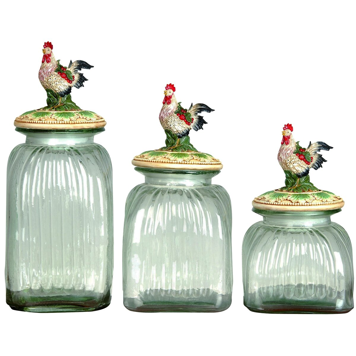 3-piece rooster lid glass canister set   wayfair