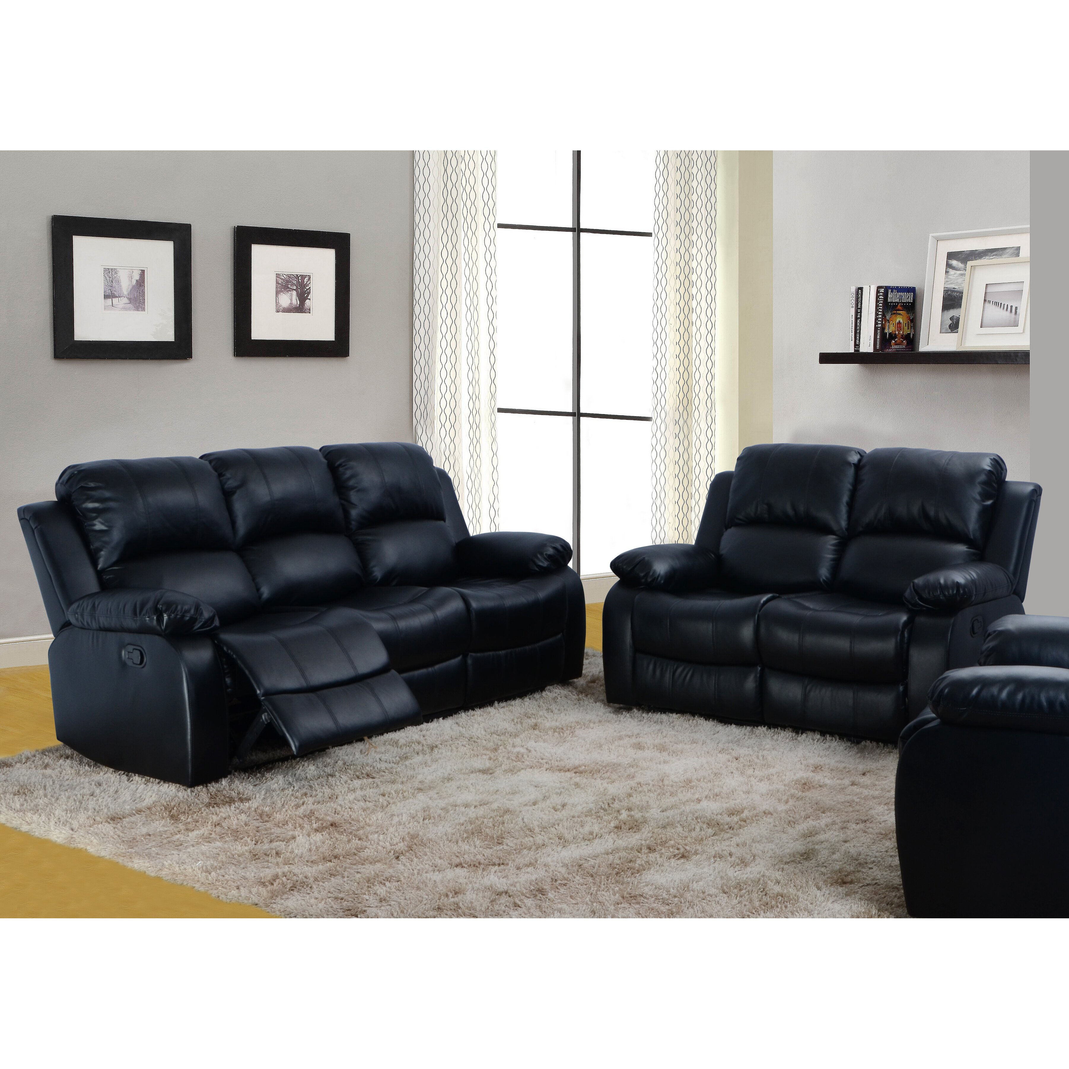furniture denver 2 piece bonded leather reclining living room sofa set