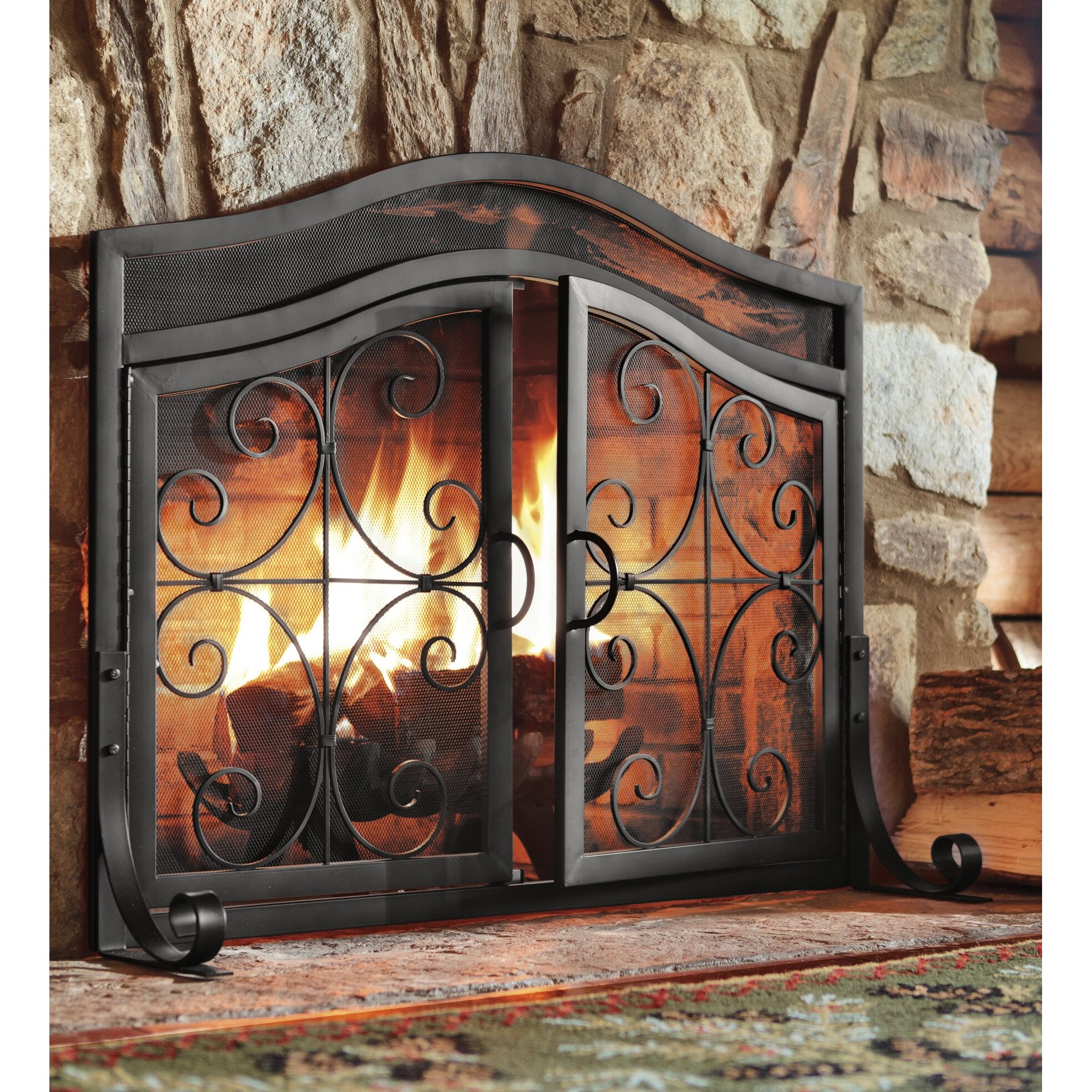 plow hearth small crest fireplace screen with doors
