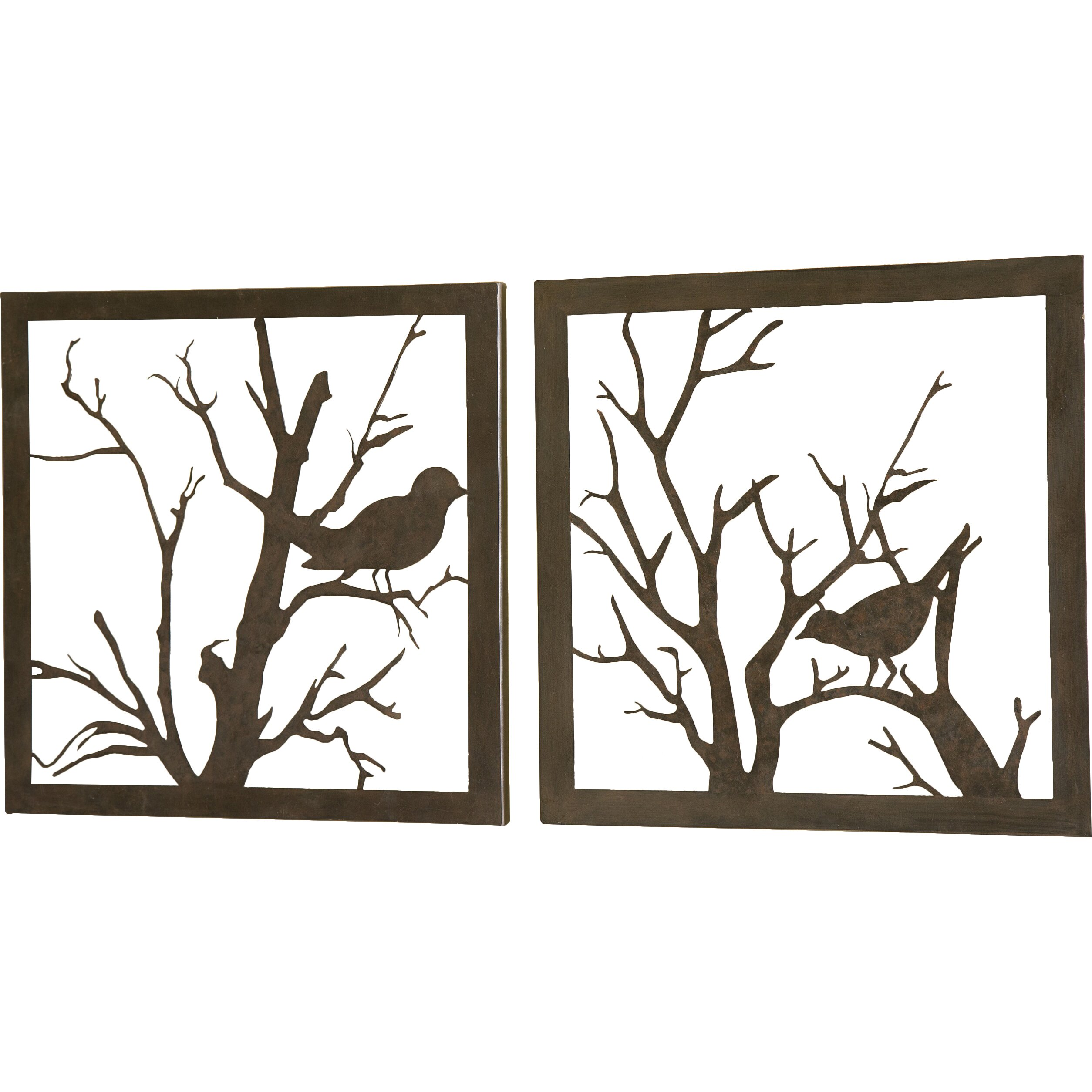 Plow Hearth Metal Bird Graphic Art Set Of 2 Reviews