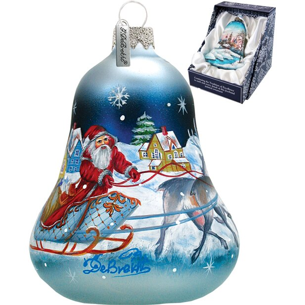 Santa sleigh bell ornament by g debrekht
