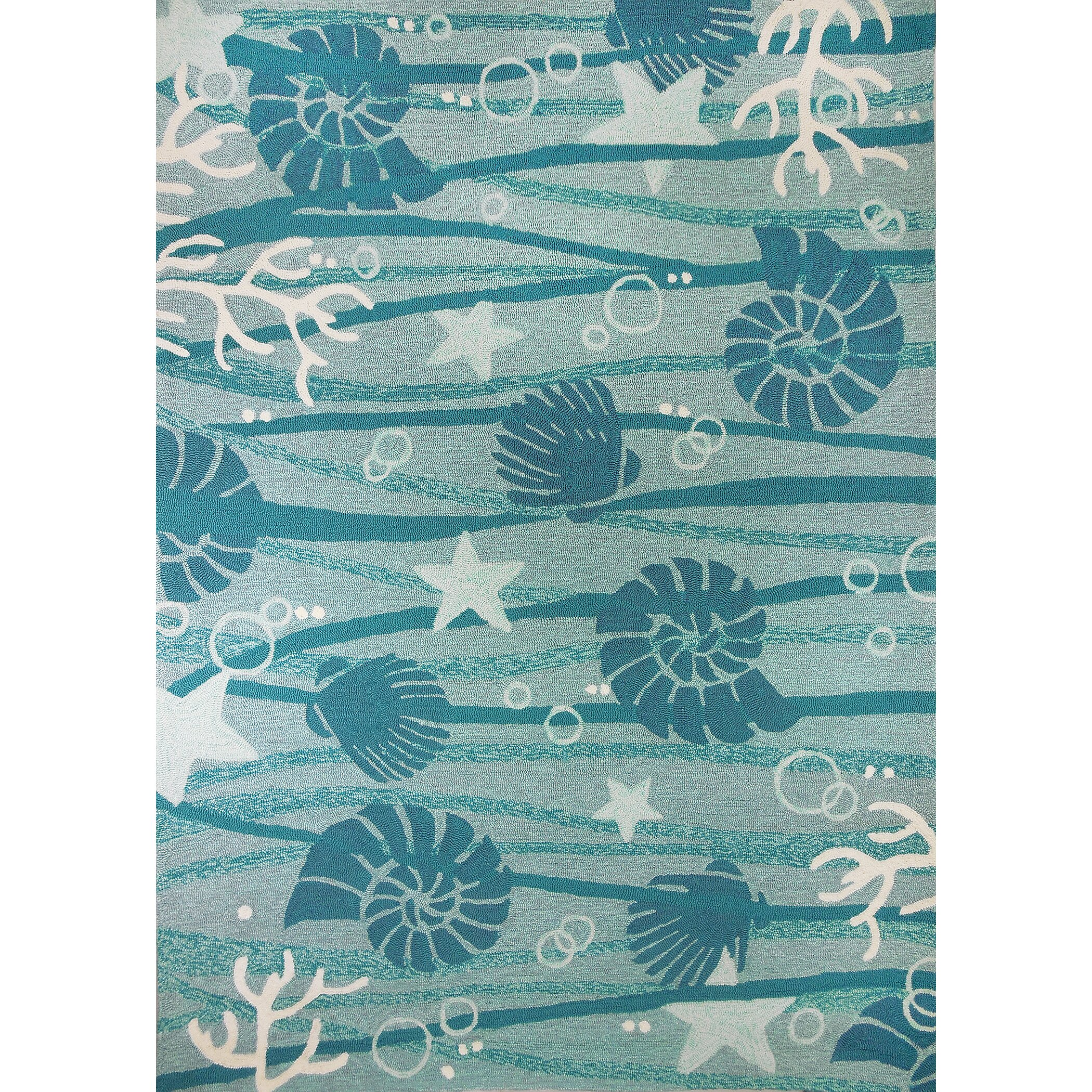 Homefires La Mer Turquoise White Indoor Outdoor Area Rug