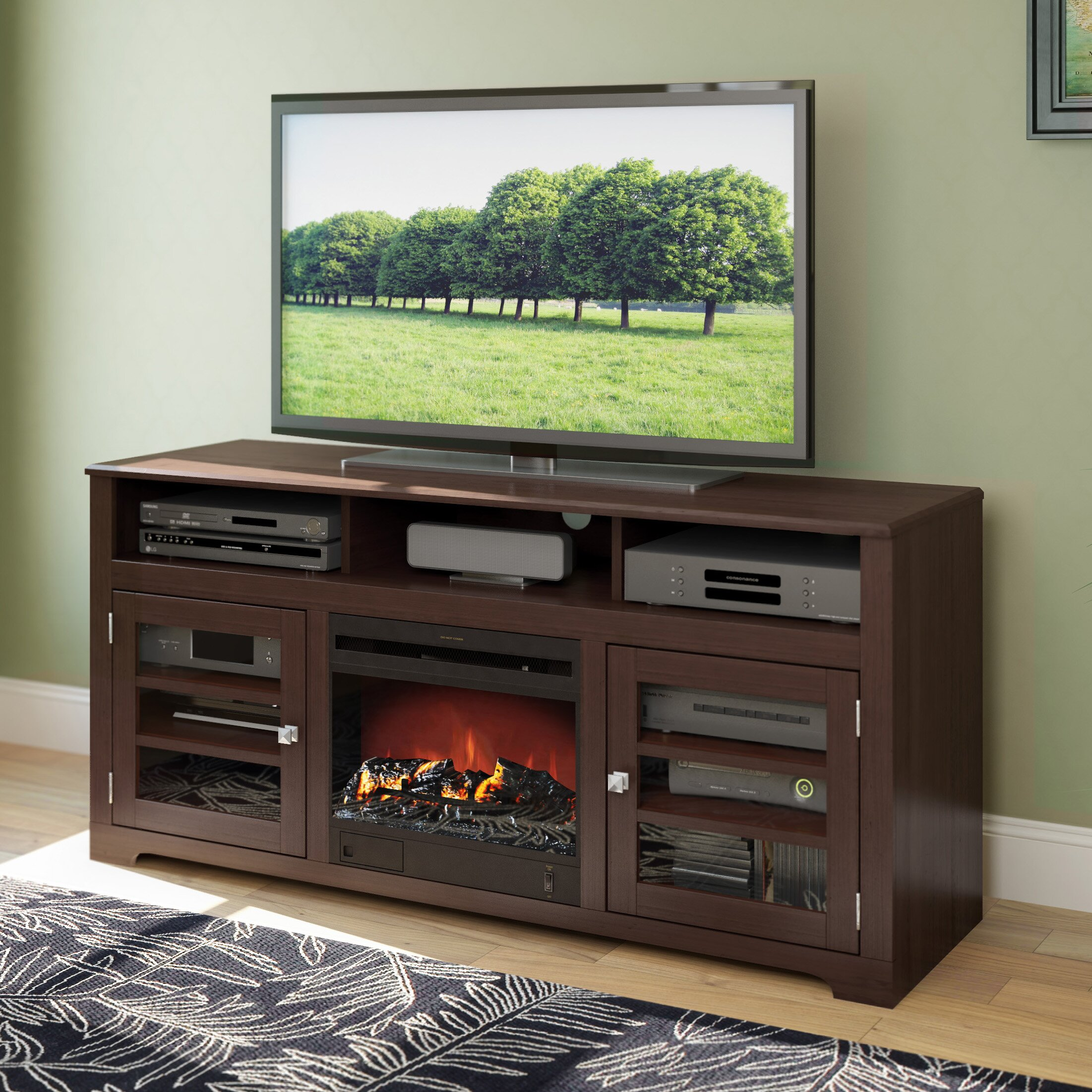 dCOR design West Lake TV Stand with Electric Fireplace ...