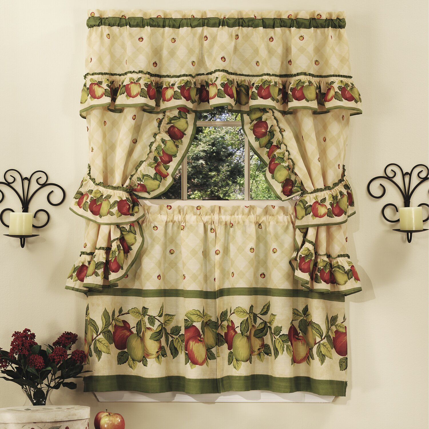 Apple orchard cottage kitchen curtain set wayfair for Home interiors apple orchard collection